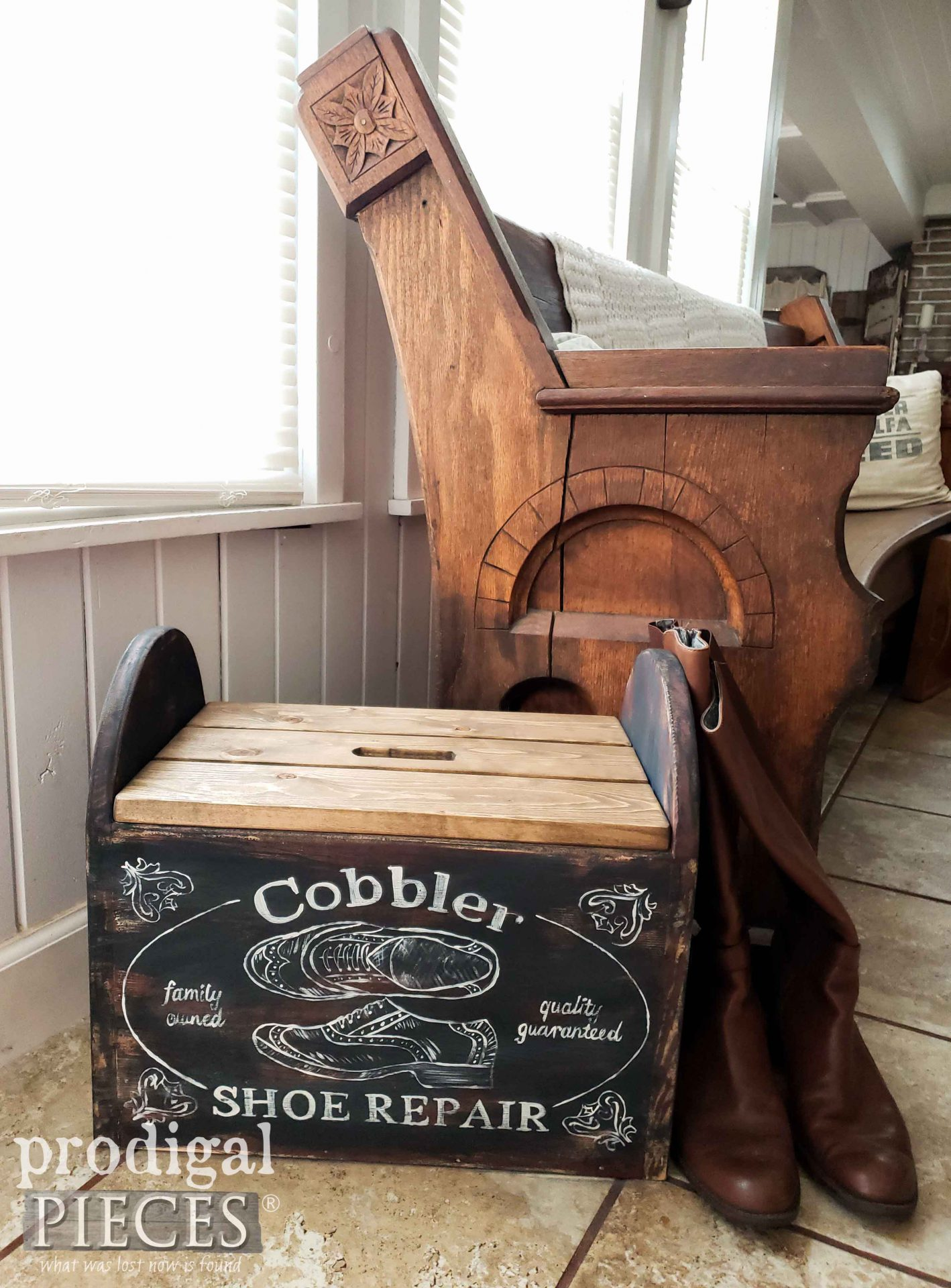 Rustic Farmhouse Cobbler Bin from Thrifted Find by Larissa of Prodigal Pieces | prodigalpieces.com #prodigalpieces #farmhouse #diy #home #storage #homedecor