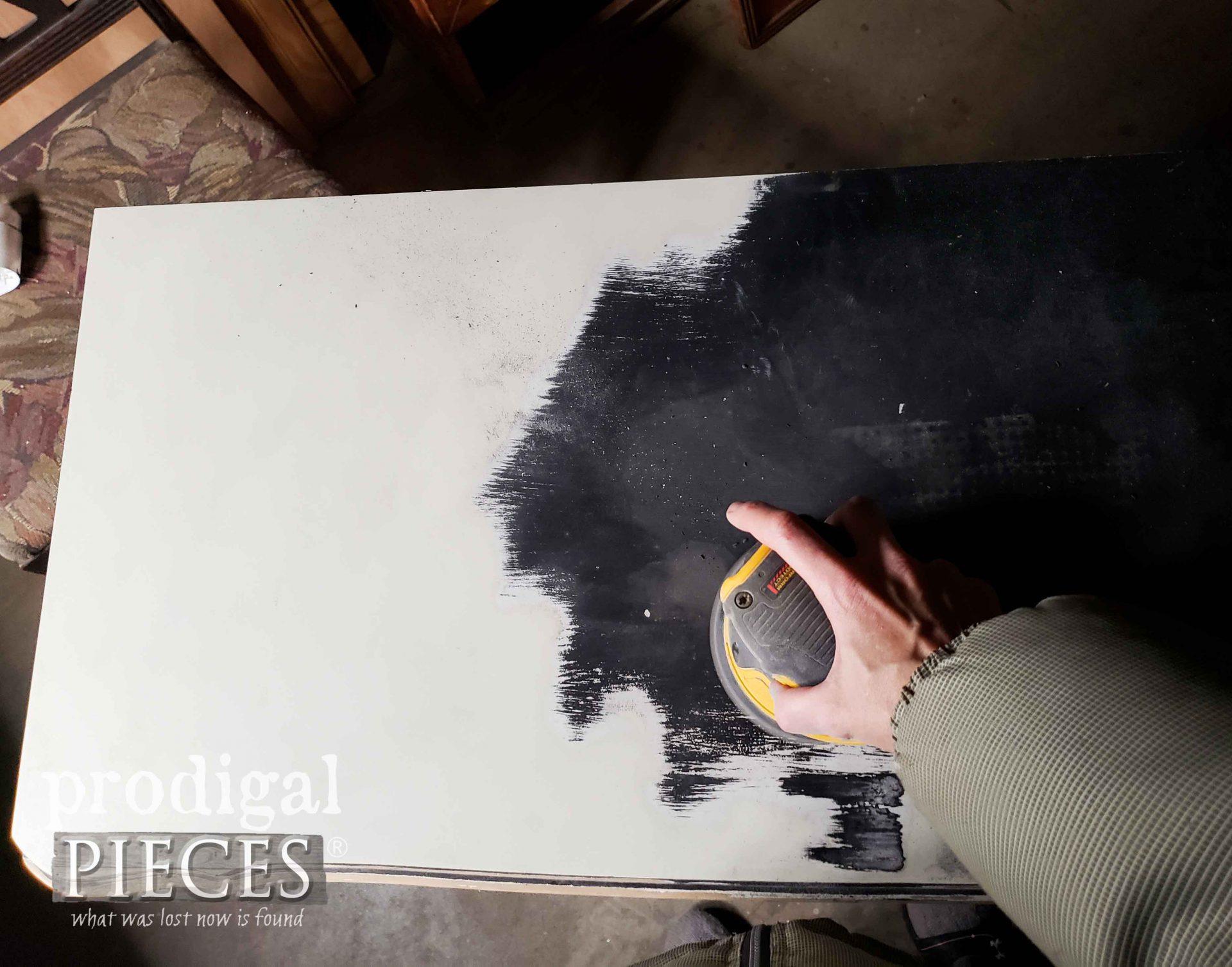 Sanding French Provincial Desk Top | Laminate Surface | prodigalpieces.com