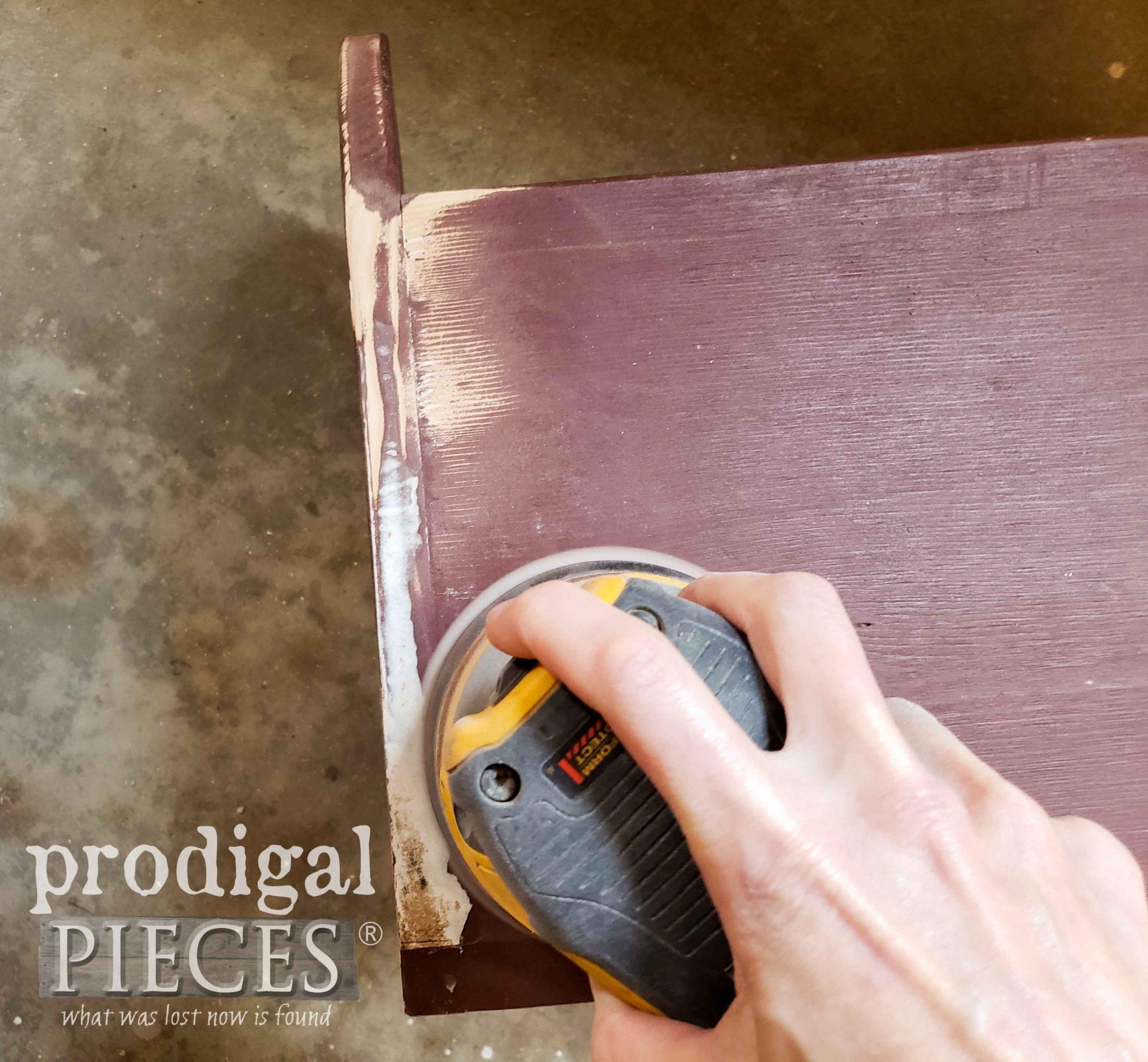 Sanding Wooden Bin with DeWalt Sander | prodigalpieces.com