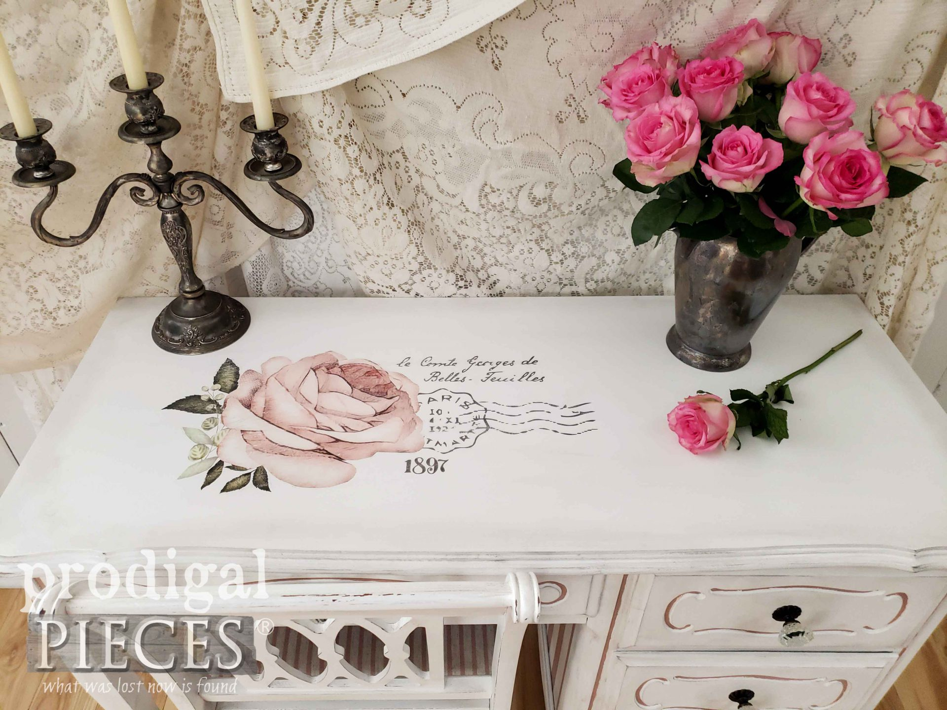 Shabby Chic French Provincial Desk Top with Rose Graphic by Larissa of Prodigal Pieces | prodigalpieces.com #prodigalpieces #diy #home #homedecor #furniture #shabbychic