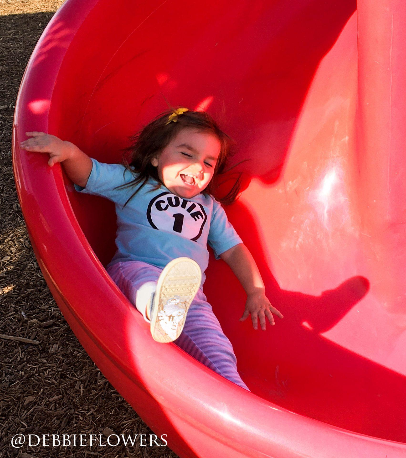 Smiling Girl on Slide | prodigalpieces.com