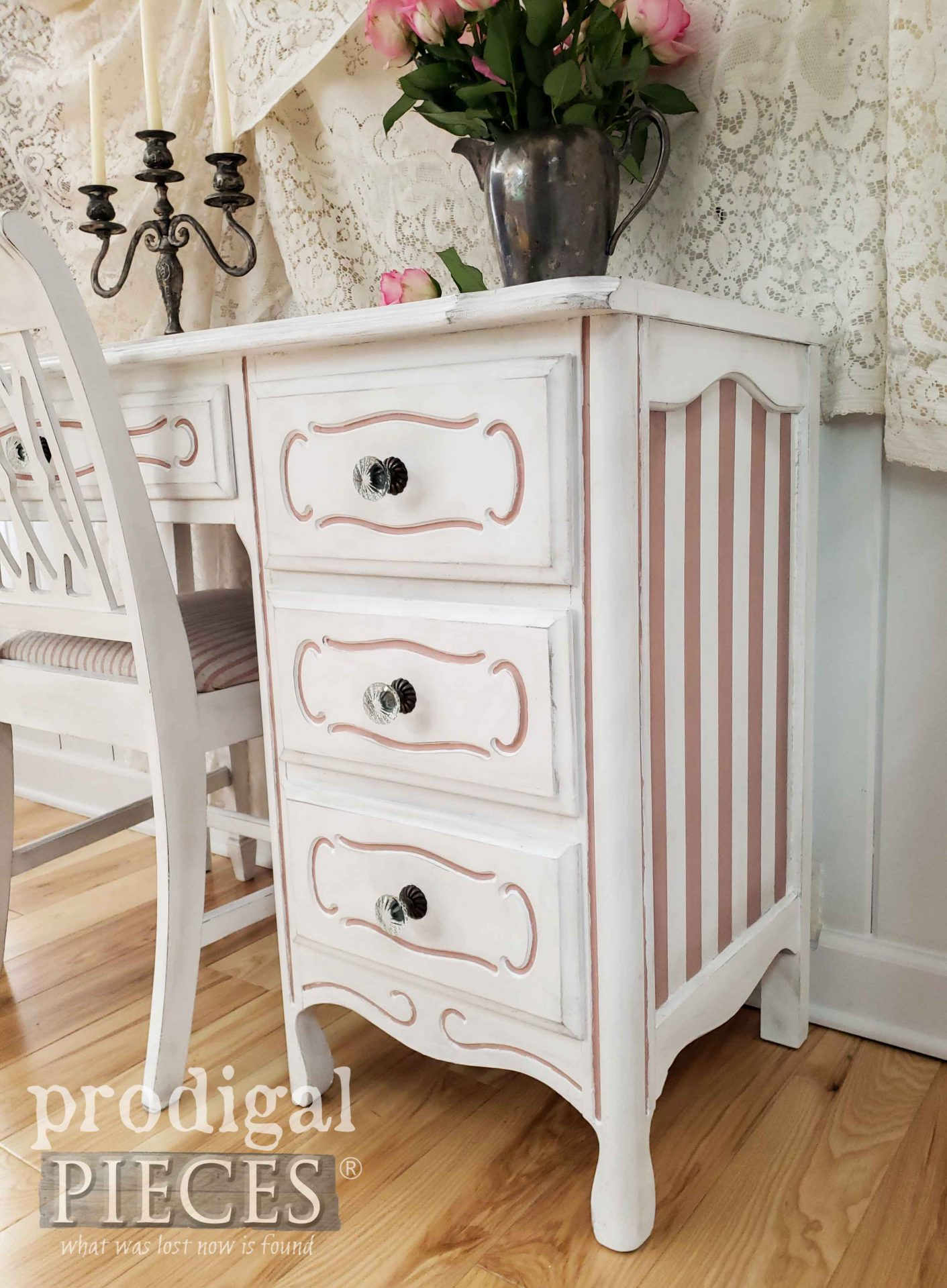 French Provincial Desk Set with Pink Stripes by Larissa of Prodigal Pieces | prodigalpieces.com #prodigalpieces #diy #furniture #shabbychic #french #diy #home #homedecor