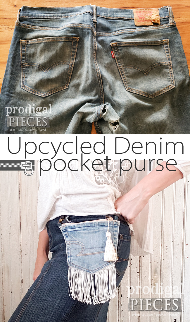 You can create these upcycled denim pocket purses with this video tutorial by Larissa of Prodigal Pieces | prodigalpieces.com #prodigalpieces #sewing #crafts #diy #fashion #style #women #boho #farmhouse