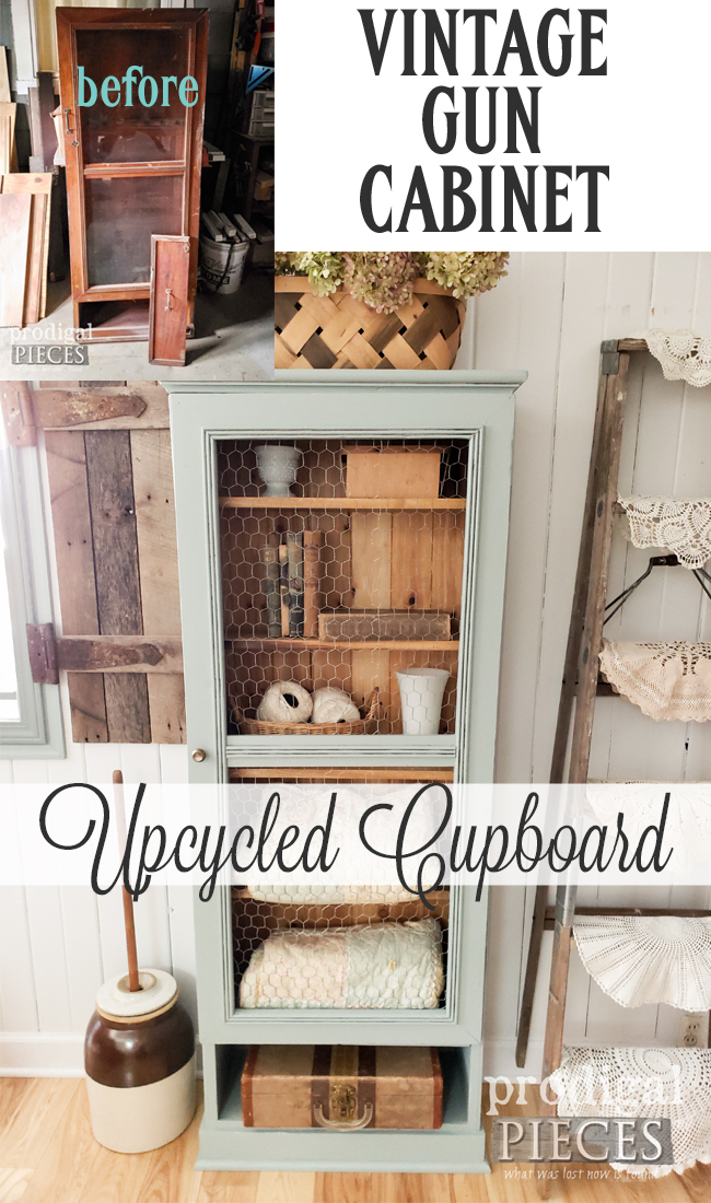 Amazing Upcycled Gun Cabinet turned Farmhouse Cupboard by Larissa of Prodigal Pieces | DIY details at prodigalpieces.com #prodigalpieces #diy #farmhouse #home #furniture #homedecor