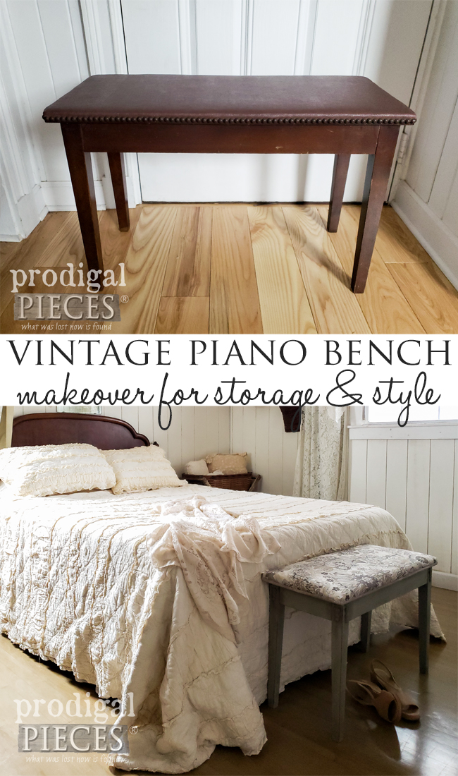 DIY Vintage Piano Bench Makeover with Paint, Clay, and Upholsteryby Larissa of Prodigal Pieces | prodigalpieces.com #prodigalpieces #furniture #home #homedecor #vintage #farmhouse