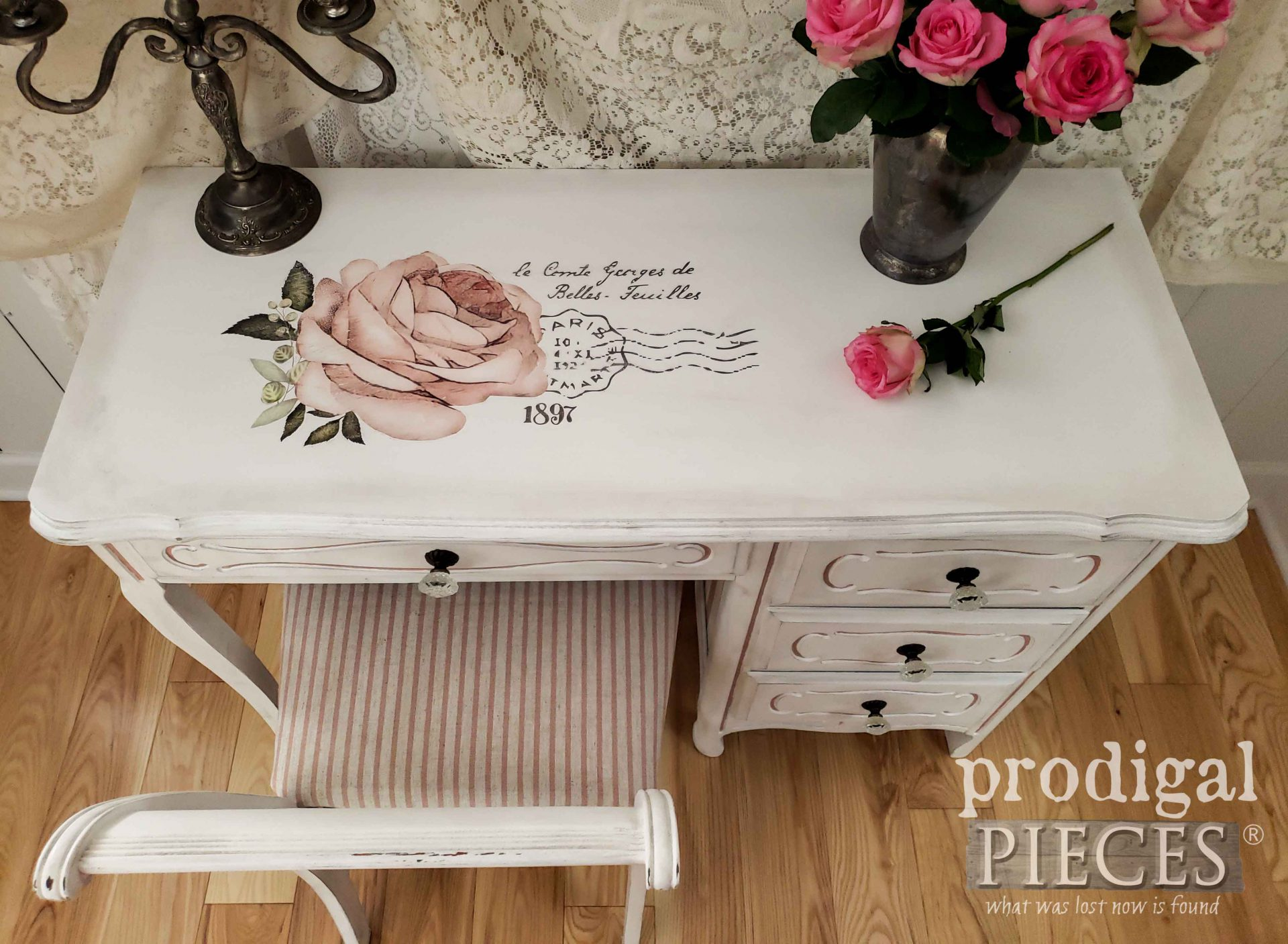 Vintage Shabby Chic Desk Makeover by Larissa of Prodigal Pieces | prodigalpieces.com #prodigalpieces #diy #home #furniture #homedecor