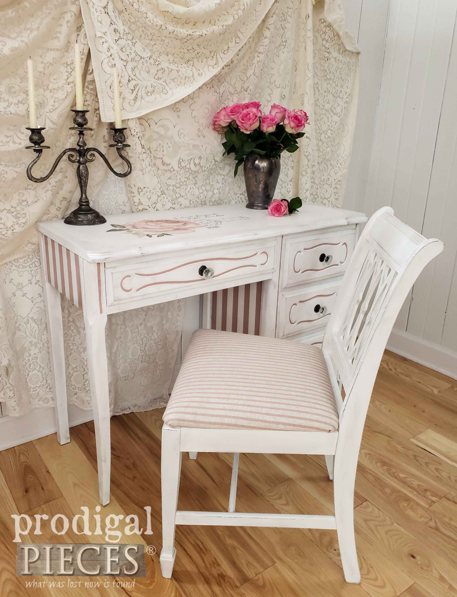 Vintage White French Provincial Desk Set Updated by Larissa of Prodigal Pieces | prodigalpieces.com #prodigalpieces #diy #home #furniture #homedecor #shabbychic