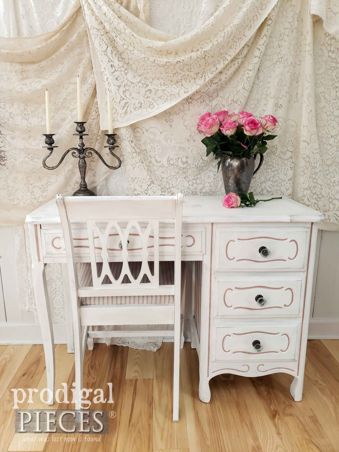 Vintage White French Provincial Desk Set with Shabby Chic Flair by Larissa of Prodigal Pieces | prodigalpieces.com #prodigalpieces #diy #home #shabbychic #furniture #homedecor