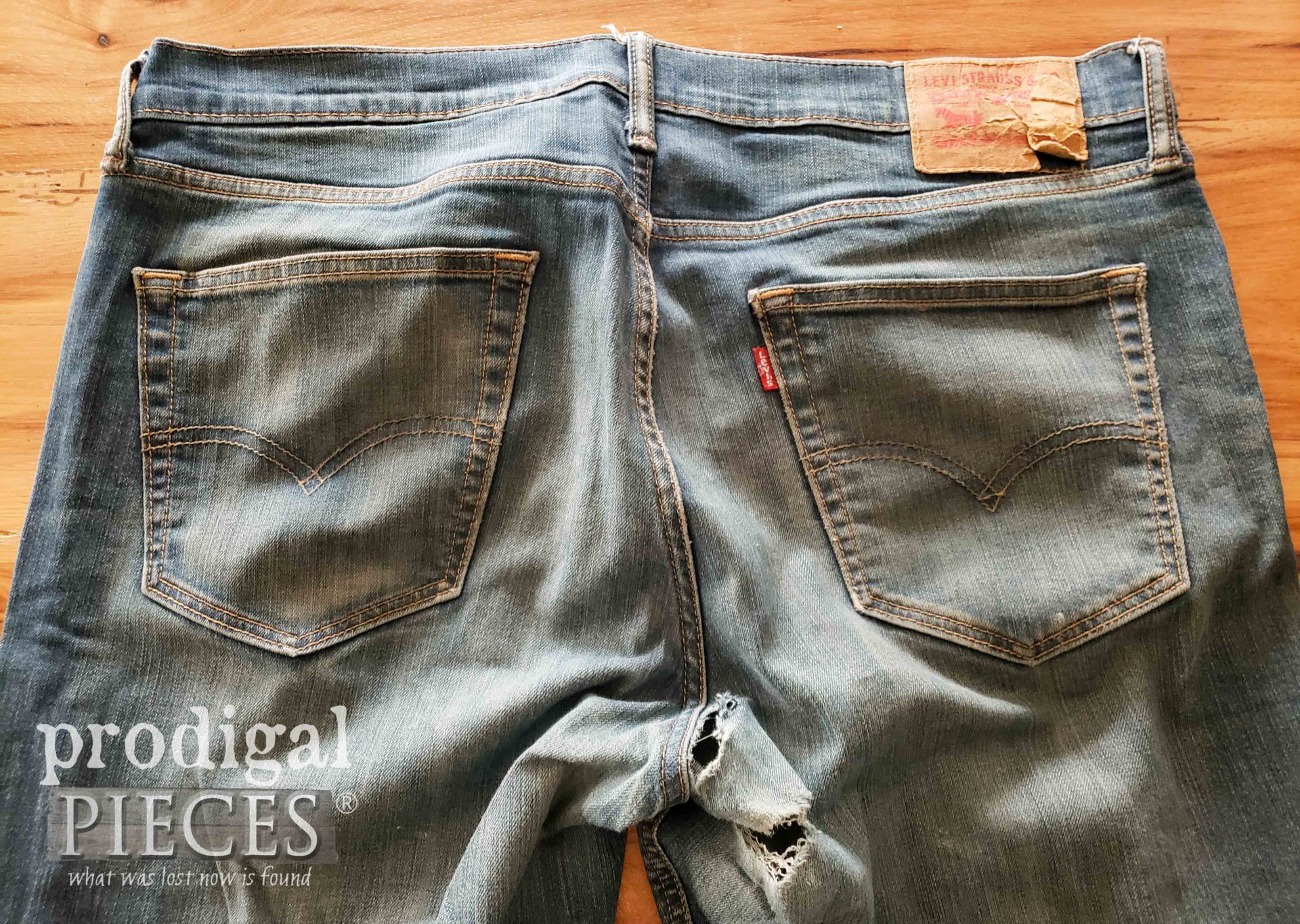 Worn Jeans Before Upcycled Denim Purse Project by Prodigal Pieces | prodigalpieces.com