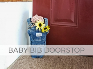 Upcycled baby bib overalls doorstop by Larissa of Prodigal Pieces | prodigalpieces.com #prodigalpieces