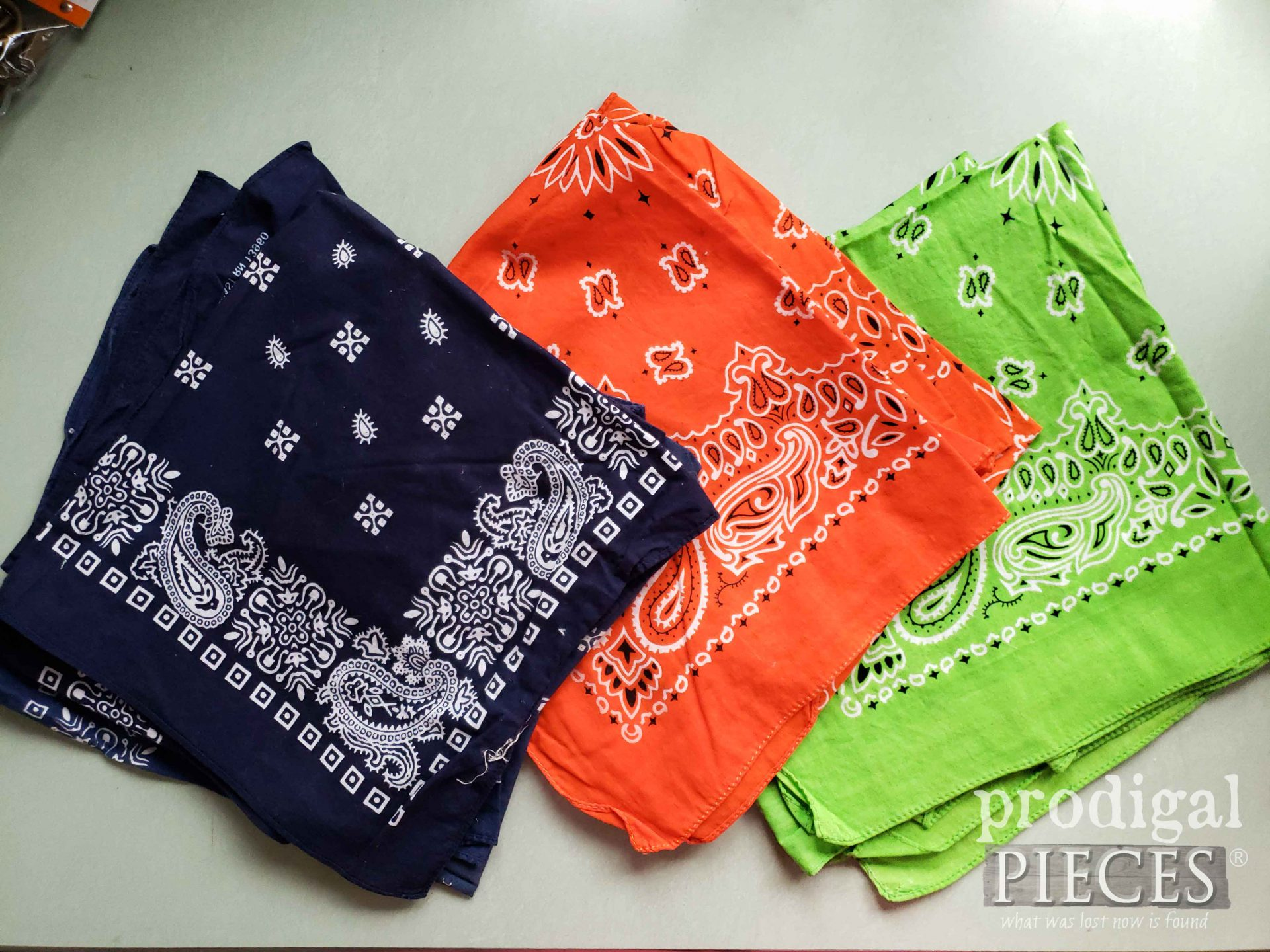 Thrifted Bandana's Before Upcycled to Drawstring Bag | prodigalpieces.com