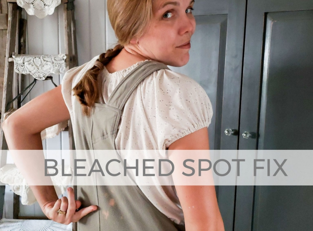 Fix those bleached spots on your clothes with this video tutorial by Larissa of Prodigal Pieces | prodigalpieces.com #prodigalpieces