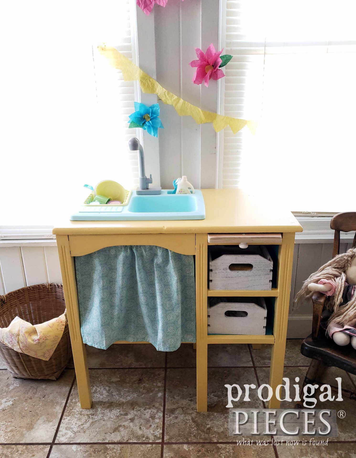 Upcycled Play Kitchen with Working Faucet and Kitchen Sink by Larissa of Prodigal Pieces | prodigalpieces.com #prodigalpieces #diy #kids #play #pretend #fun #home #homedecor #furniture