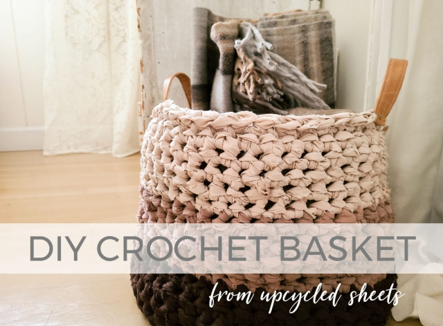 DIY Crochet Basket from Upcycled Bed Sheets by Larissa of Prodigal Pieces | prodigalpieces.com #prodigalpieces