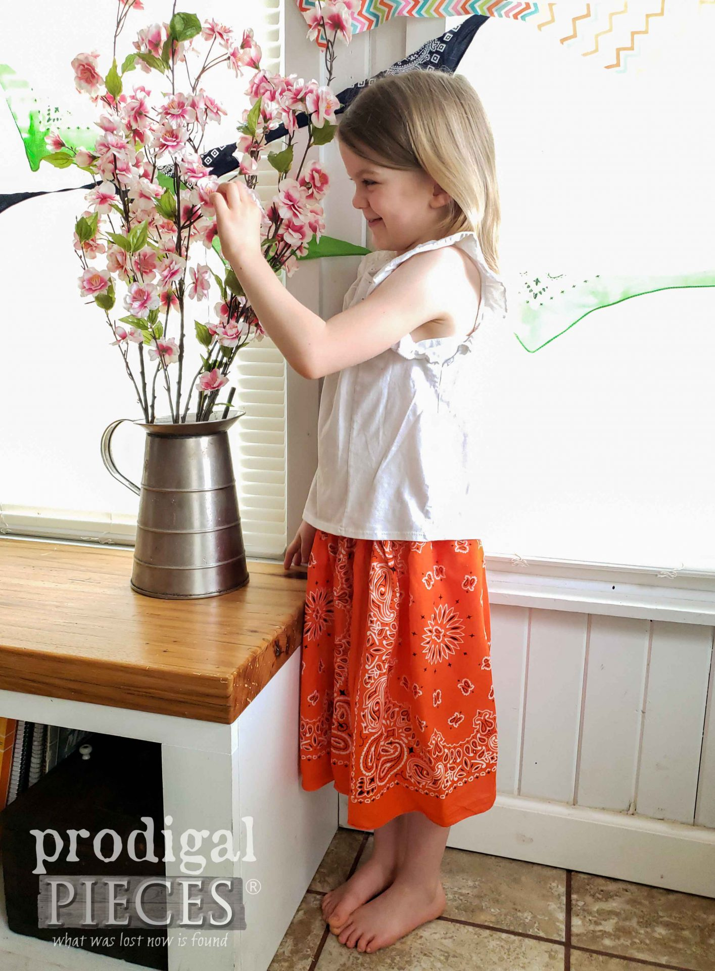 DIY Bandana Skirt for Girls by Larissa of Prodigal Pieces | prodigalpieces.com #prodigalpieces #diy #kids #clothes #skirt #upcycled