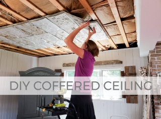Check out this DIY coffered ceiling with antique barn roof tiles by Larissa of Prodigal Pieces | prodigalpieces.com #prodigalpieces