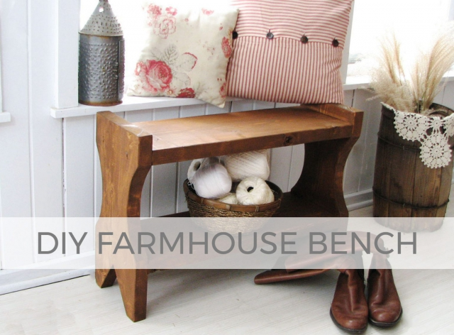 Build this rustic DIY farmhouse bench with tutorial by Larissa of Prodigal Pieces | prodigalpieces.com #prodigalpieces
