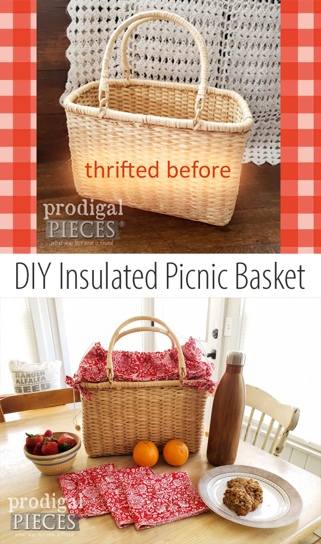 Grab that thrifted basket and turn it into a DIY insulated picnic basket. Perfect for gifts! See more by Larissa of Prodigal Pieces at prodigalpieces.com #prodigalpieces #diy #crafts #home #summer #homedecor #farmhouse #gifts