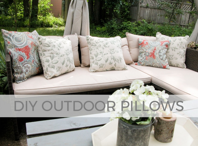 Whip up these easy and affordable DIY outdoor pillows with Larissa of Prodigal Pieces | prodigalpieces.com #prodigalpieces