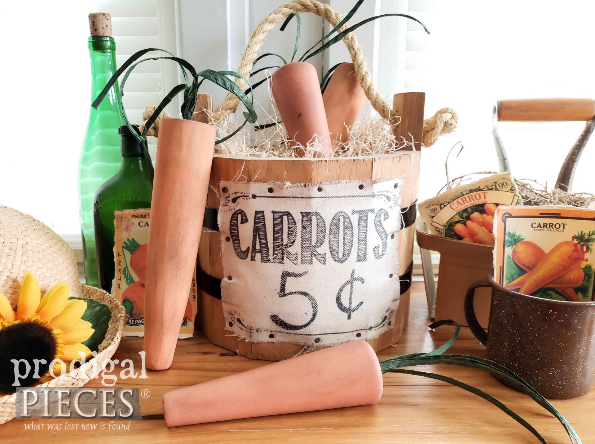 DIY Rustic Carrots for Farmhouse Spring Decor by Larissa of Prodigal Pieces | prodigalpieces.com #prodigalpieces #handmade #spring #diy #crafts #farmhouse