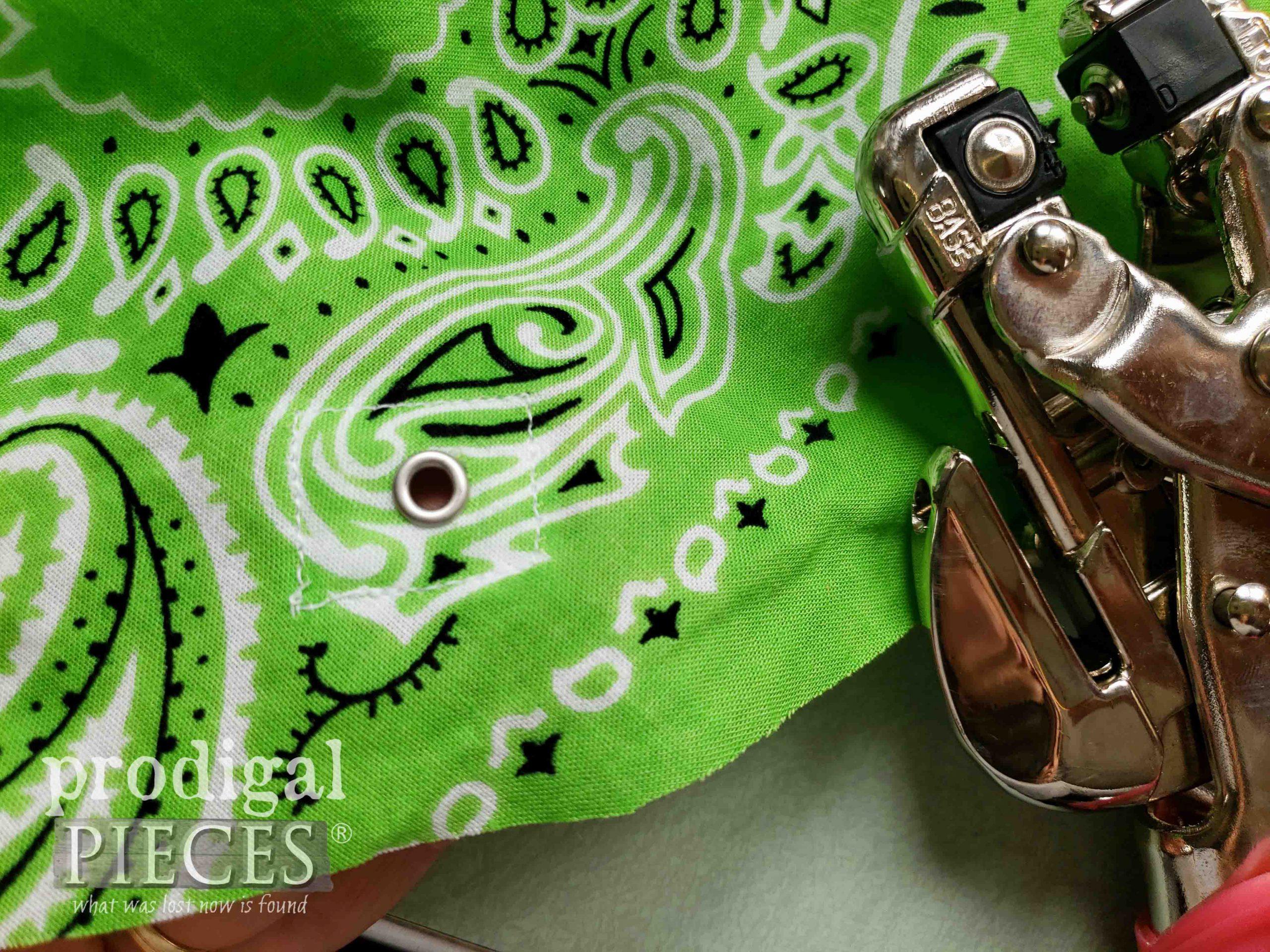 Set eyelet in Upcycled Bandana Drawstring Bag   prodigalpieces.com