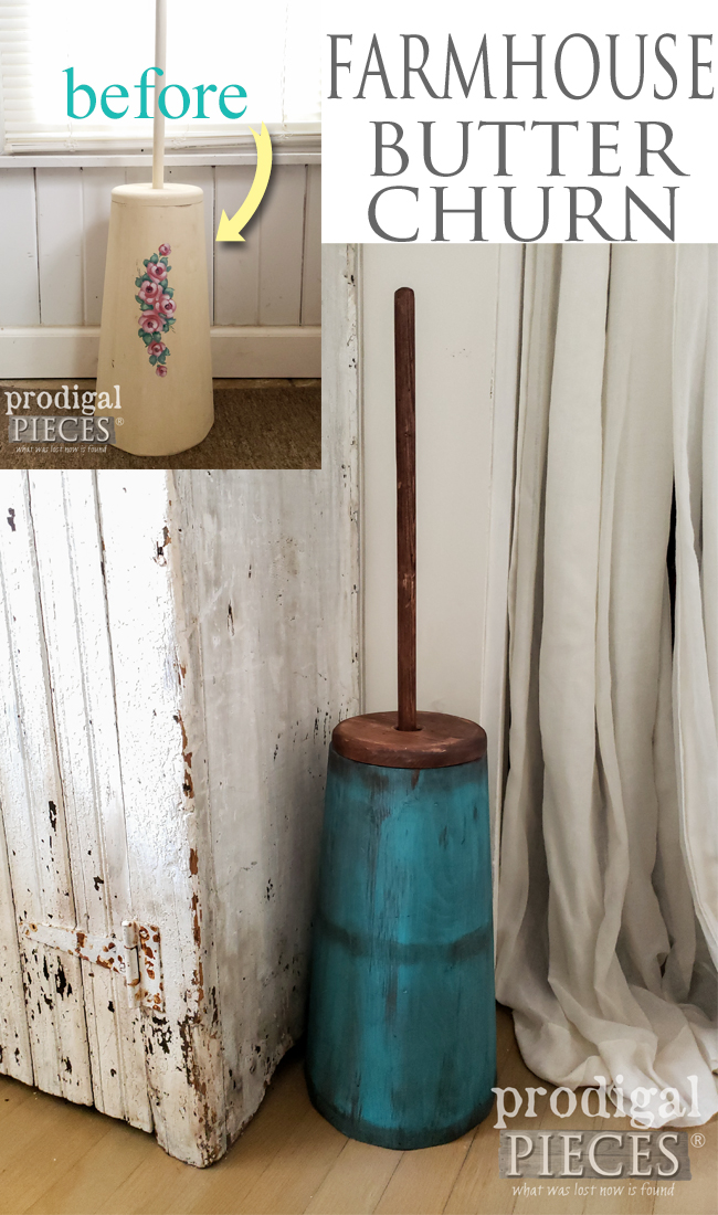 Farmhouse butter churn makeover from cutesy country to rustic chic. Come see how to create your own home story with Larissa at Prodigal Pieces | prodigalpieces.com #prodigalpieces #farmhouse #diy #home #homedecor