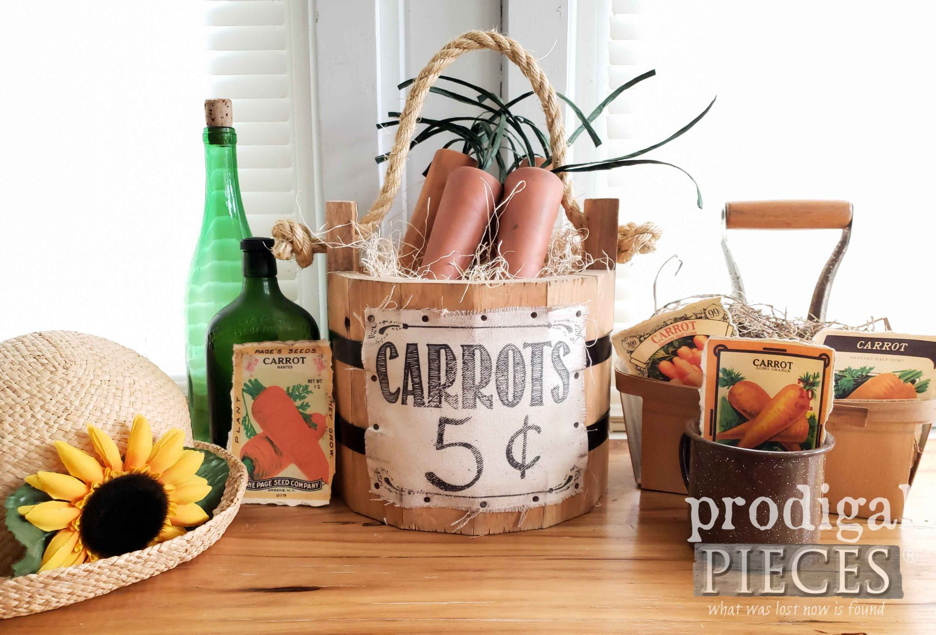 Farmhouse Style Spring Carrots Made from Upcycled Furniture Legs by Larissa of Prodigal Pieces | prodigalpieces.com #prodigalpieces #farmhouse #diy #upcycled #home #crafts #homedecor