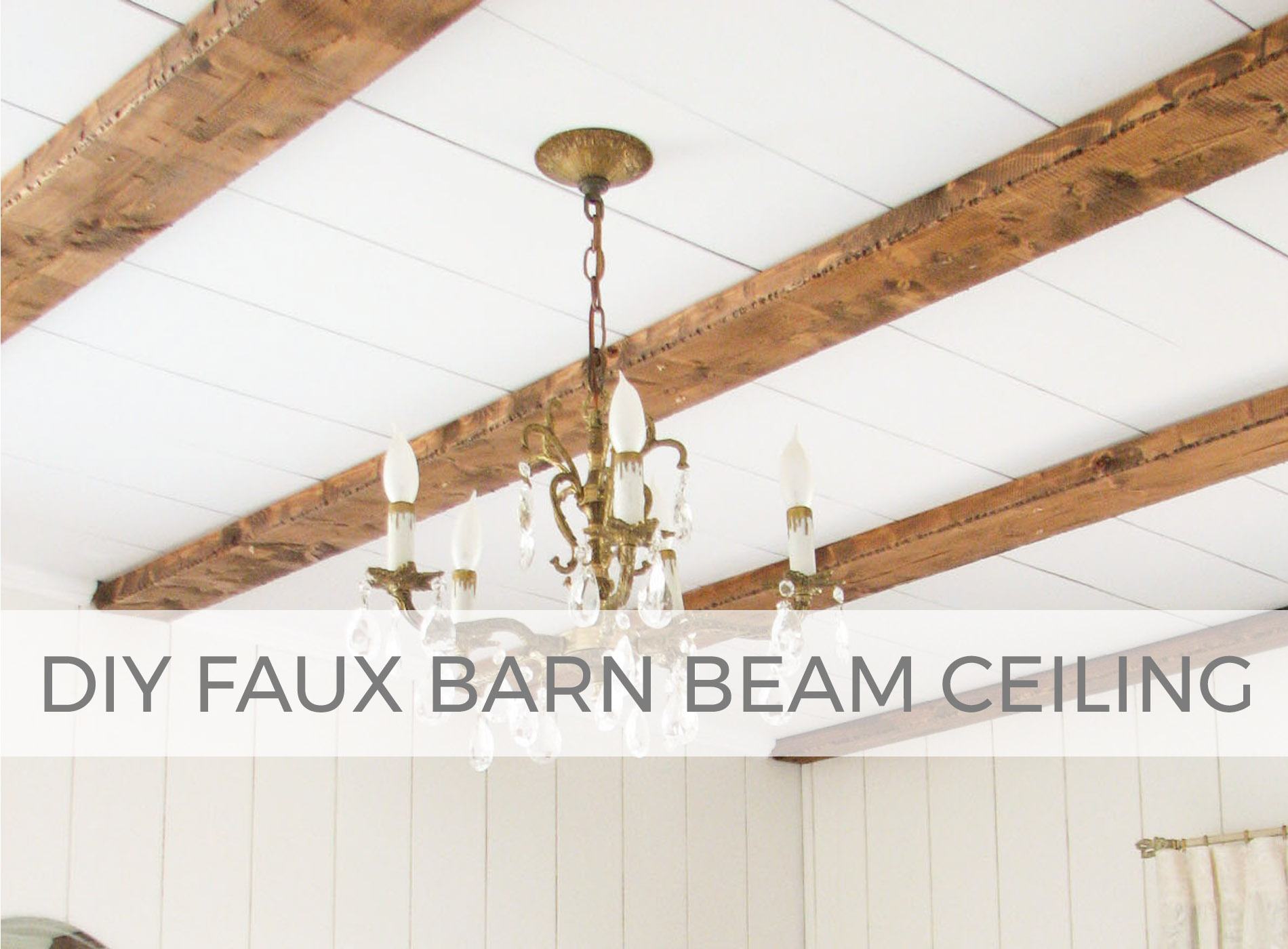 Get farmhouse feel with this faux barn beam ceiling tutorial by Larissa of Prodigal Pieces | prodigalpieces.com #prodigalpieces