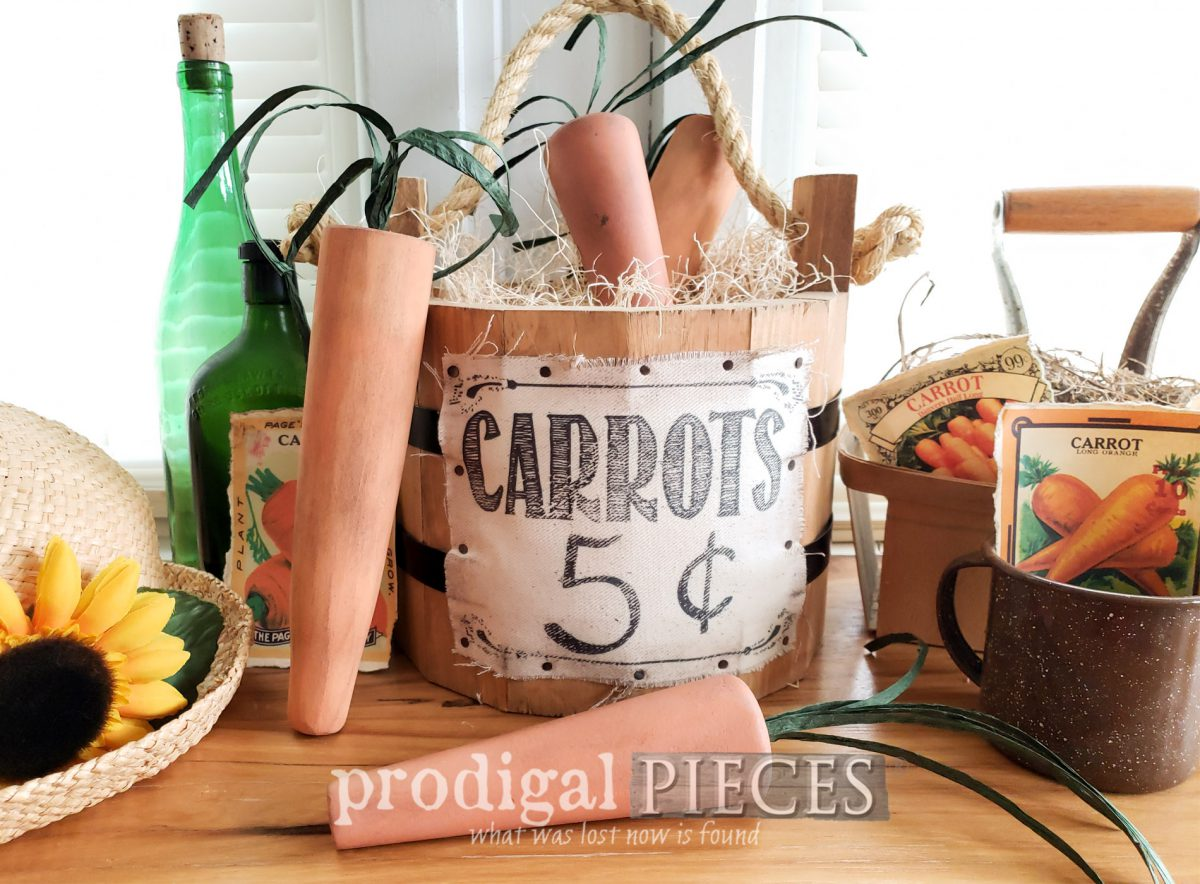Featured DIY Rustic Carrots for Spring Decor Made from Upcycled Furniture Legs by Larissa of Prodigal Pieces | prodigalpieces.com #prodigalpieces #diy #handmade #home #farmhouse #spring #homedecor #crafts