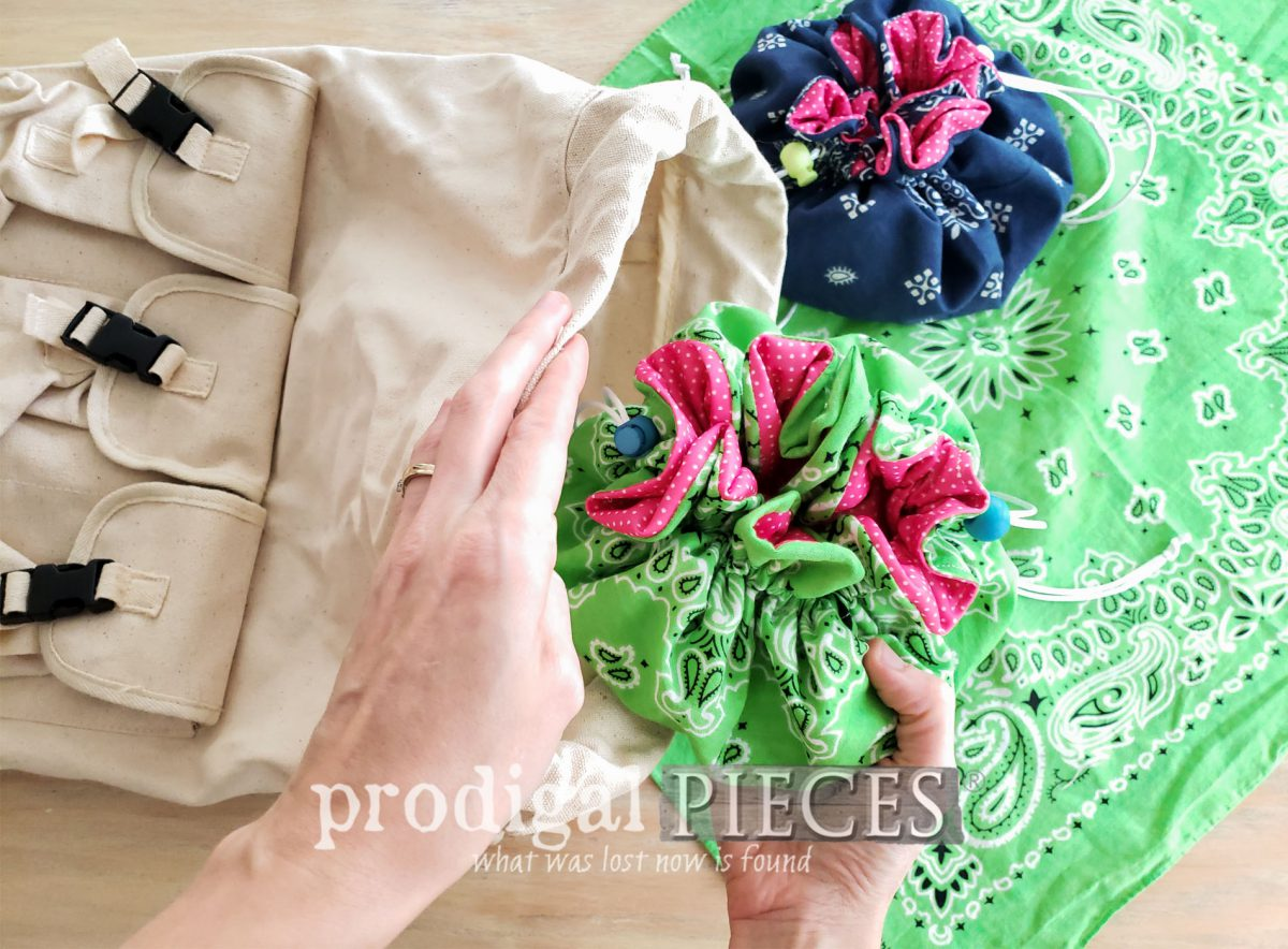 Featured Upcycled Bandana Drawstring Bags with Video Tutorial by Larissa of Prodigal Pieces | prodigalpieces.com #prodigalpieces #diy #refashion #sewing #upcycle #fashion #giftidea