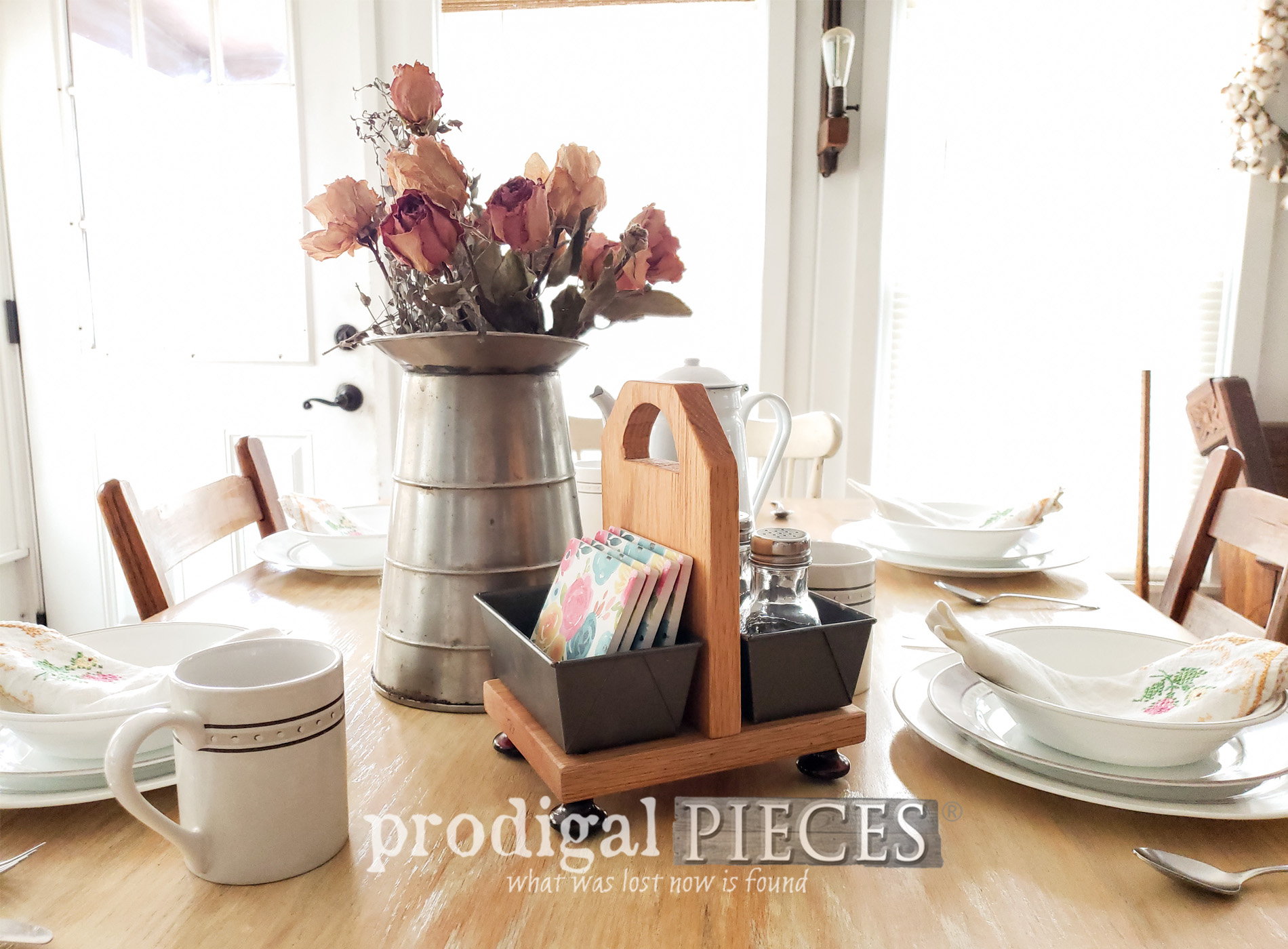 Featured Upcycled Bread Pan Caddy for Farmhouse Style Storage by Larissa of Prodigal Pieces | prodigalpieces.com #prodigalpieces #farmhouse #diy #storage #home #homedecor