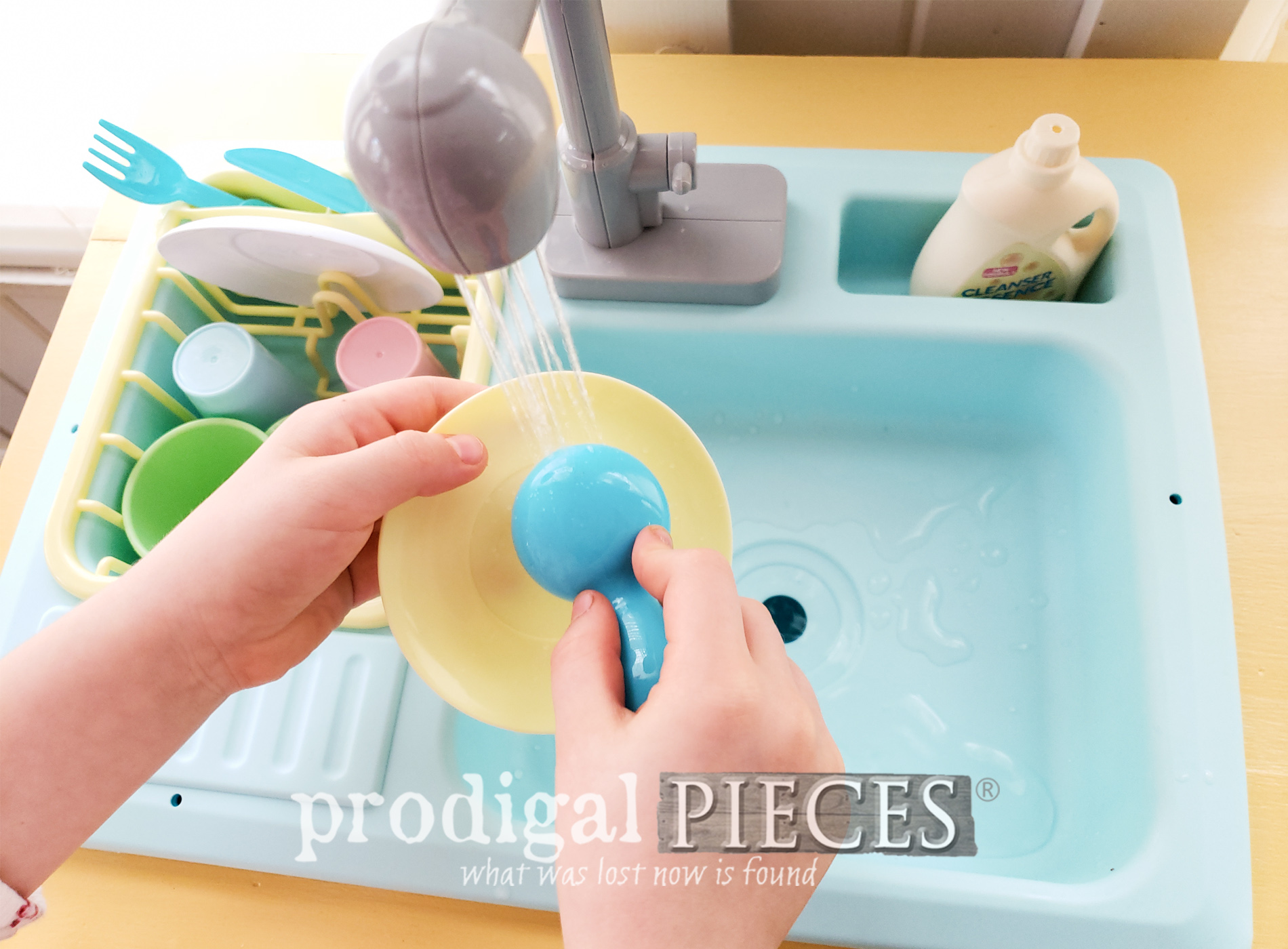 Featured Upcycled Play Kitchen with Working Sink by Larissa of Prodigal Pieces with Video Tutorial | prodigalpieces.com #prodigalpieces #kids #play #furniture #upcycle #home #homedecor