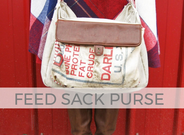 Larissa of Prodigal Pieces takes an old feed sack and makes a fun purse | prodigalpieces.com #prodigalpieces