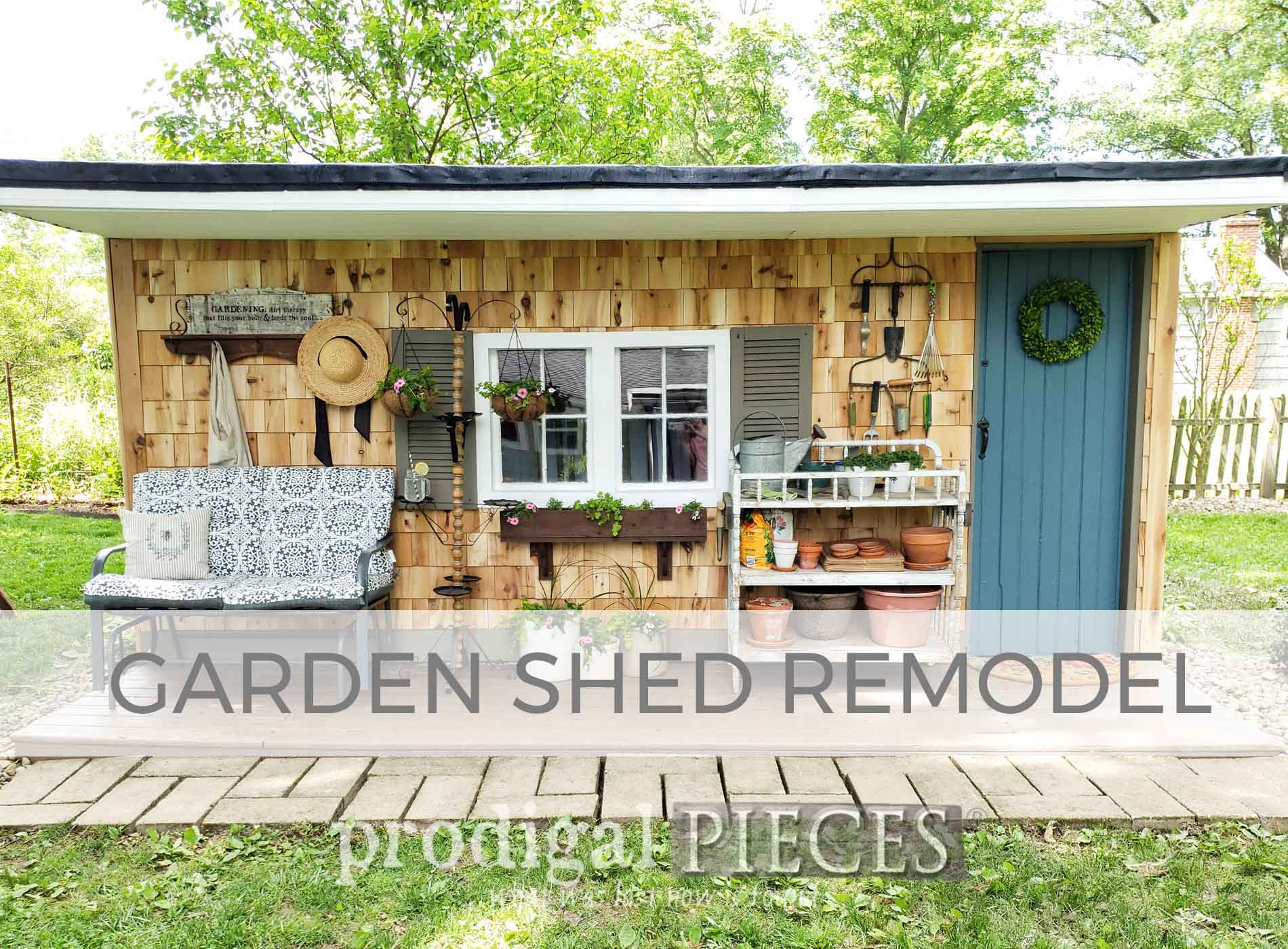 Gorgeous shabby to dreamy garden shed remodel by Prodigal Pieces | prodigalpieces.com