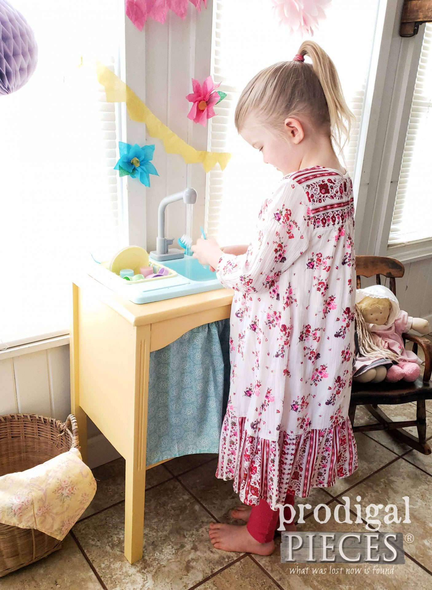 Girl with Pretend Play Kitchen Sink from Upcycled Desk by Larissa of Prodigal Pieces | prodigalpieces.com #prodigalpieces #furniture #play #kids
