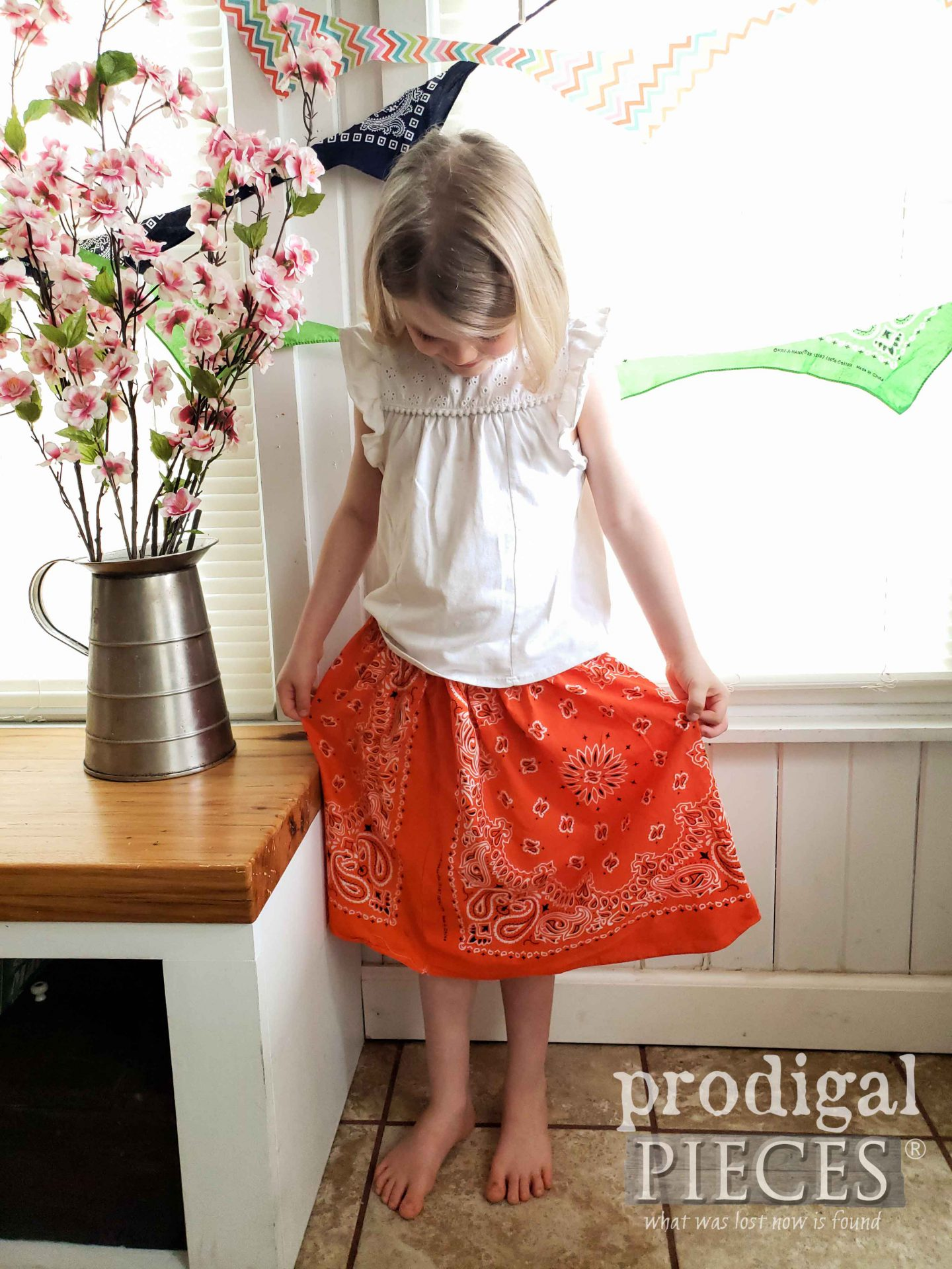Handmade Bandana Skirt for Girls Tutorial by Larissa of Prodigal Pieces | prodigalpieces.com #prodigalpieces #diy #kids #handmade #clothes #fashion