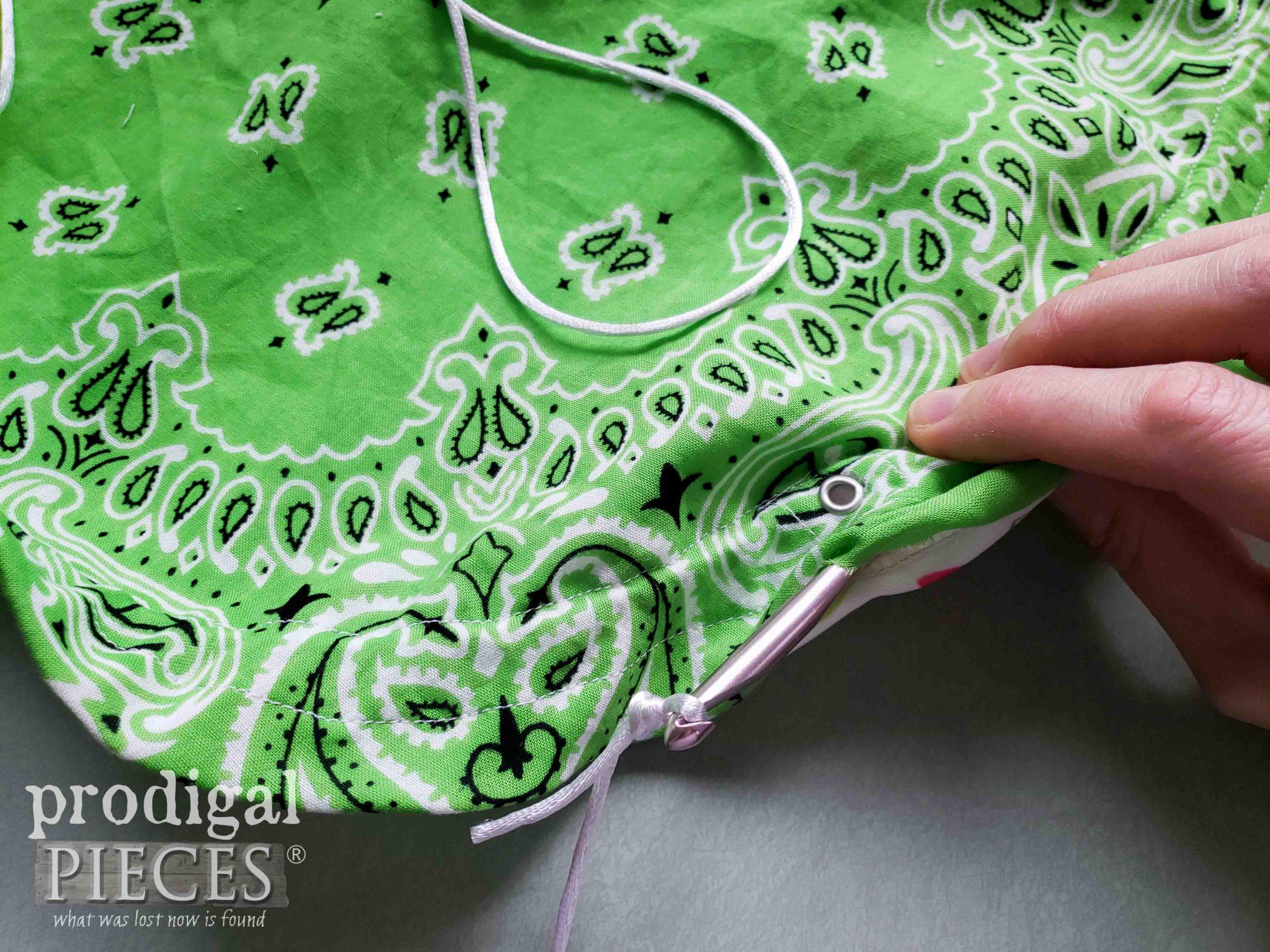 Inserting Circle Drawstring Bag Cording   prodigalpieces.com