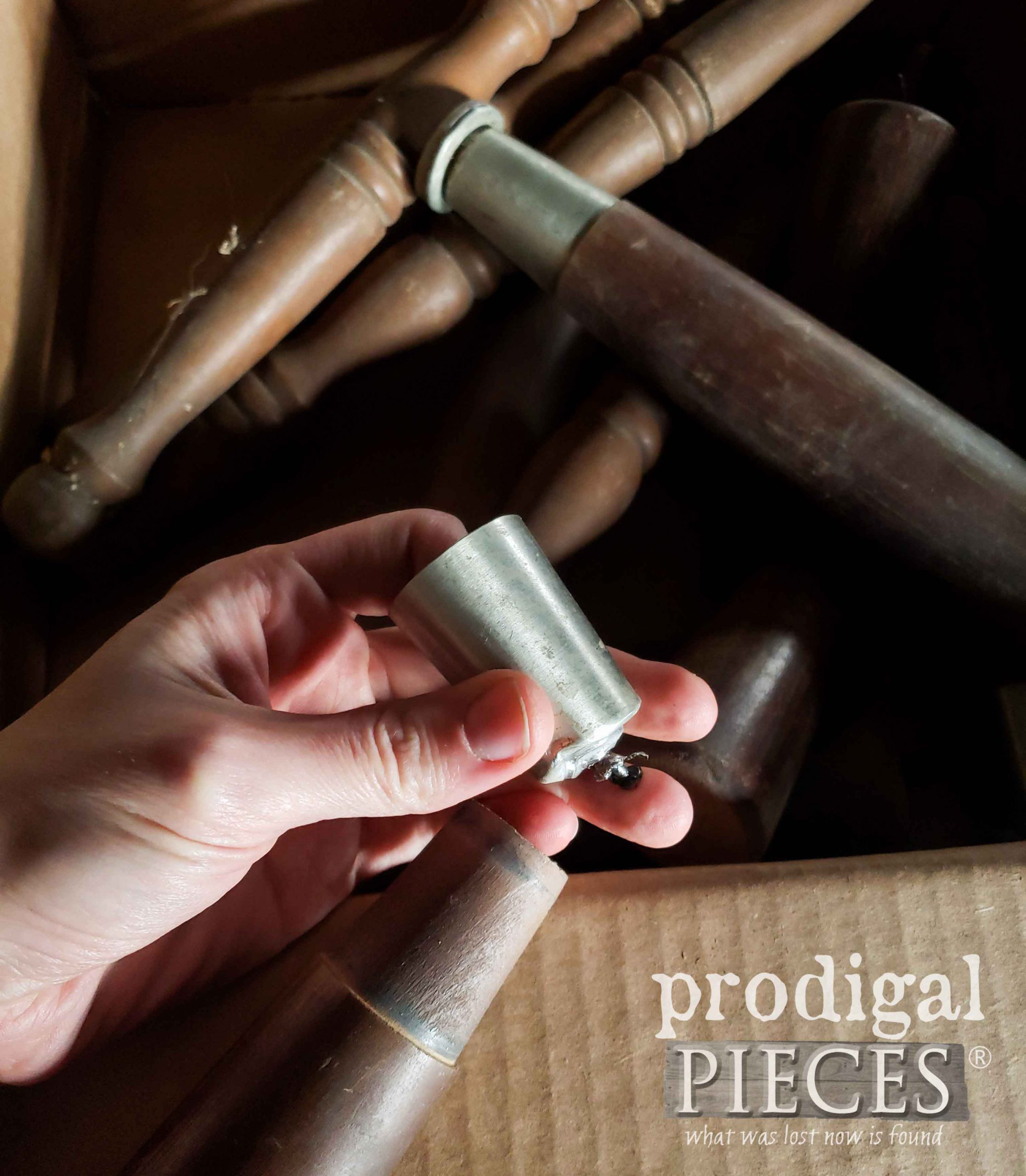 Removing Furniture Leg Cap to Create DIY Rustic Carrots | prodigalpieces.com