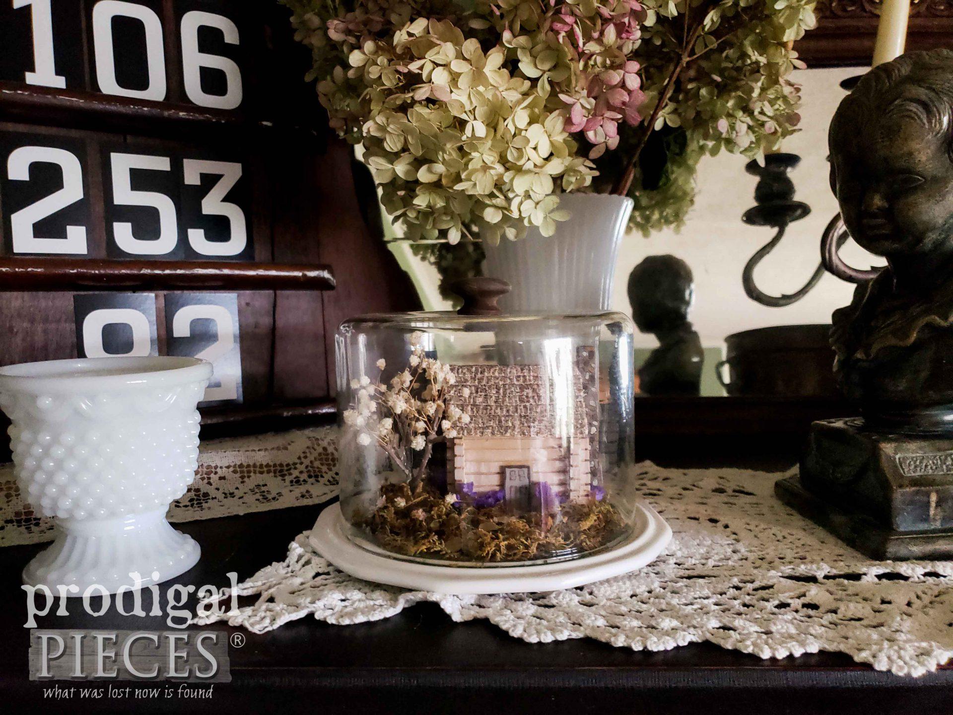 Miniature Home Cloche made by Larissa of Prodigal Pieces | prodigalpieces.com #prodigalpieces #coronavirus #covid19 #quarantine #home #homedecor