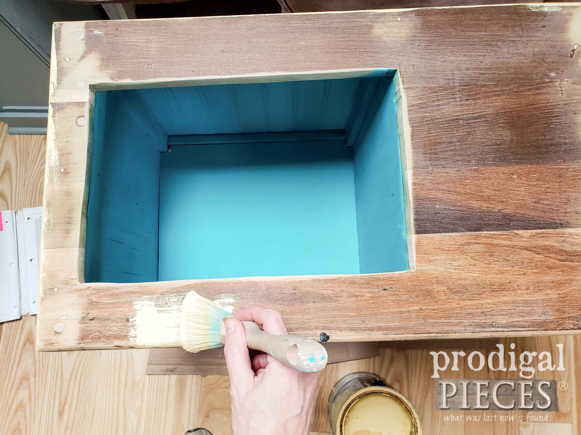 Painting Play Sink Top with Yellow by Larissa of Prodigal Pieces | prodigalpieces.com