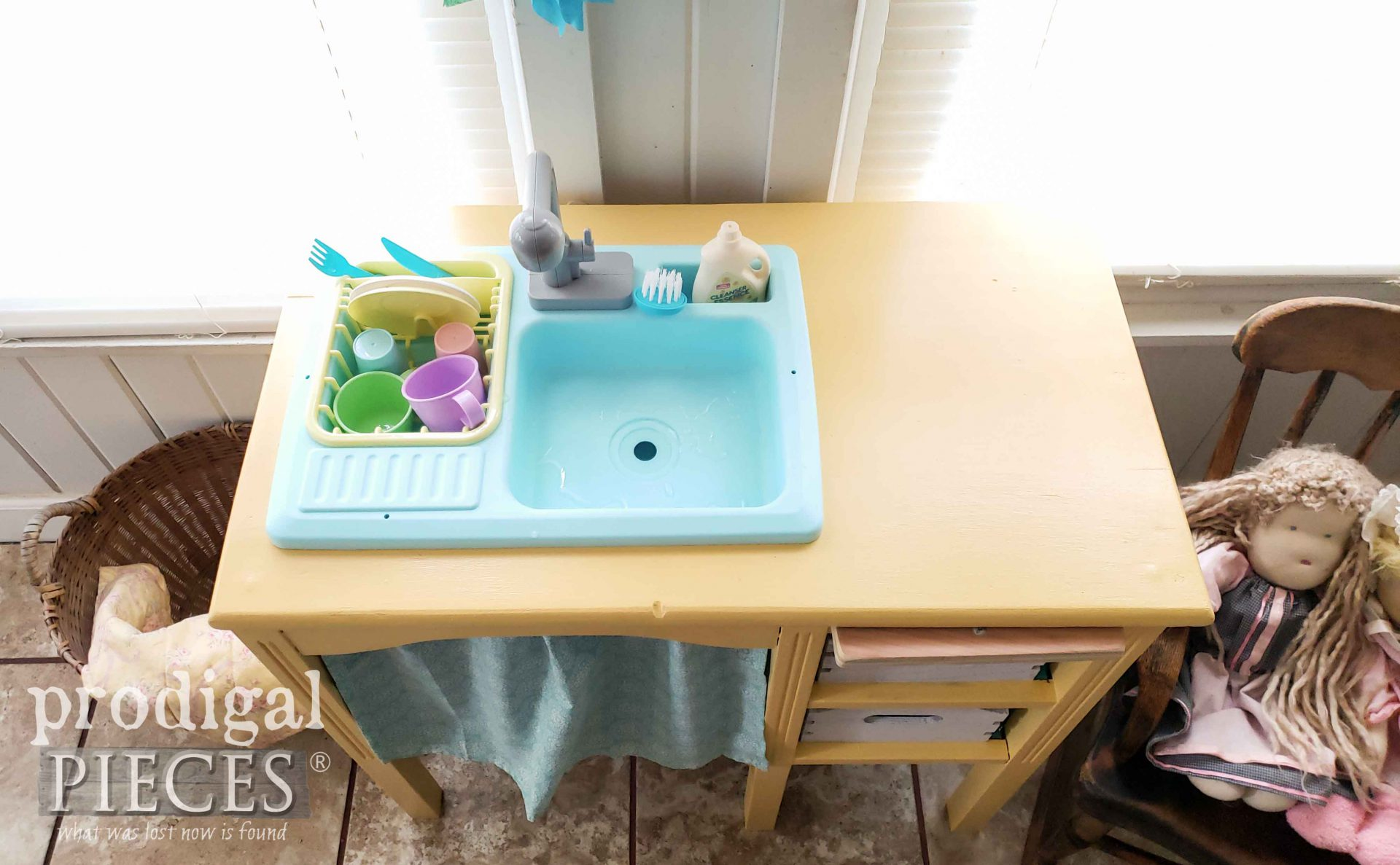 Play Kitchen Top with Working Sink by Prodigal Pieces | prodigalpieces.com #prodigalpieces #diy #toys