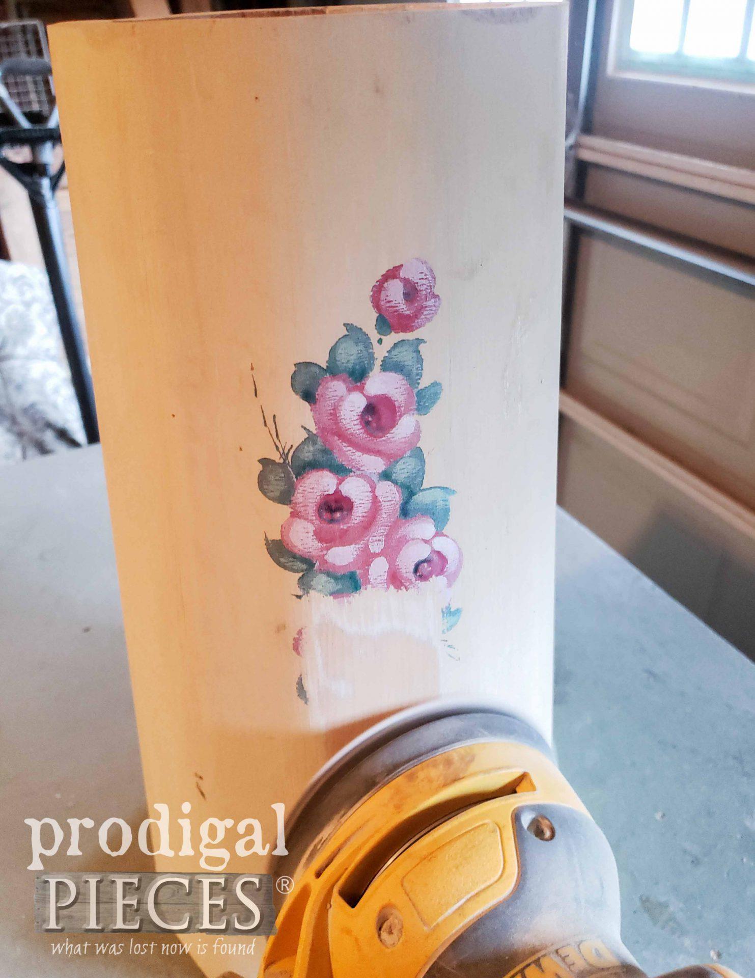Sanding Vintage Butter Churn | prodigalpieces.com #prodigalpieces