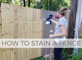 How to Stain a Fence the Fast & Easy Way with video tutorial by Larissa of Prodigal Pieces | prodigalpieces.com #prodigalpieces