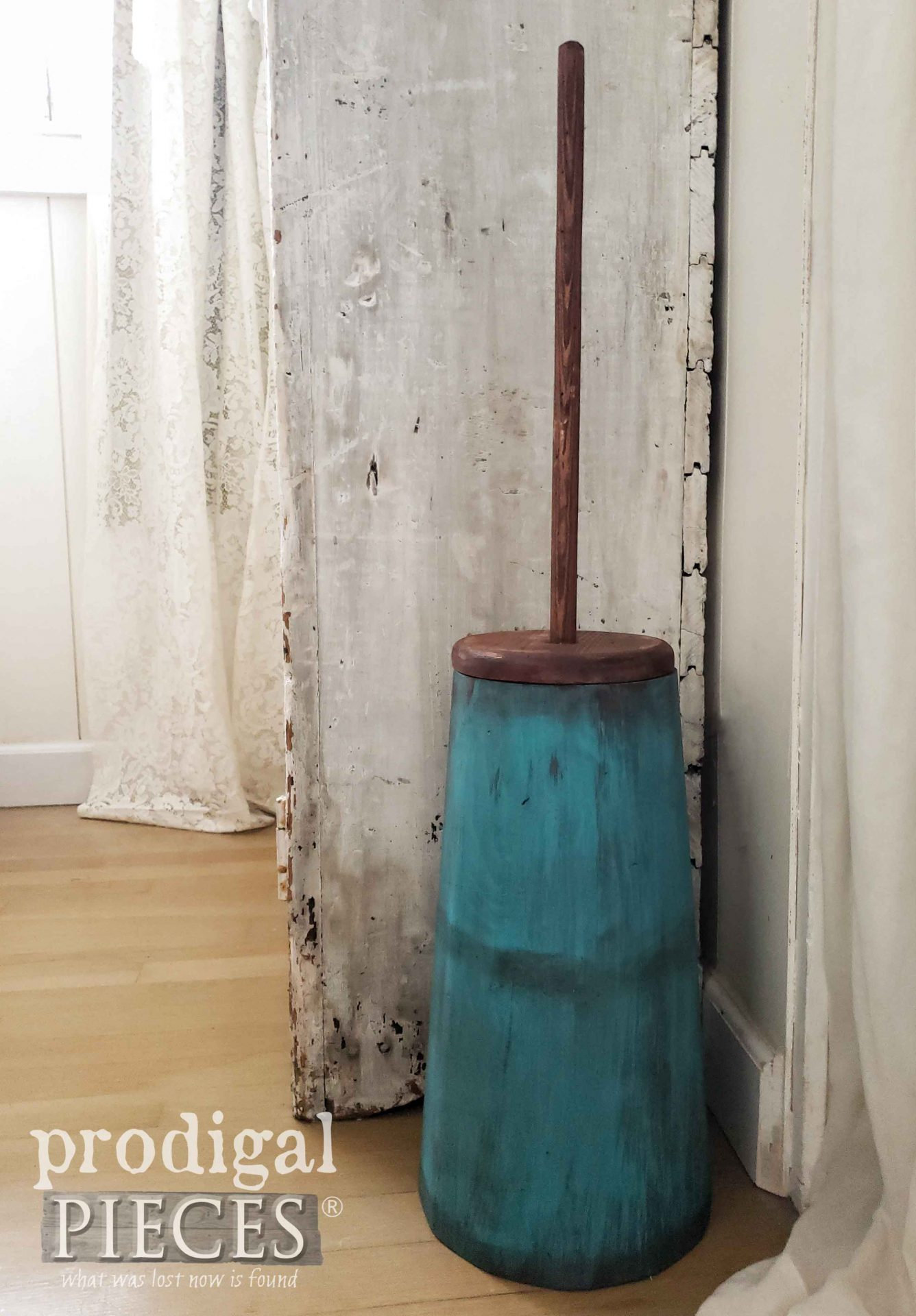 Teal Blue Antique Butter Churn Created by Larissa of Prodigal Pieces | prodigalpieces.com #prodigalpieces #farmhouse #vintage #antique #home #homedecor