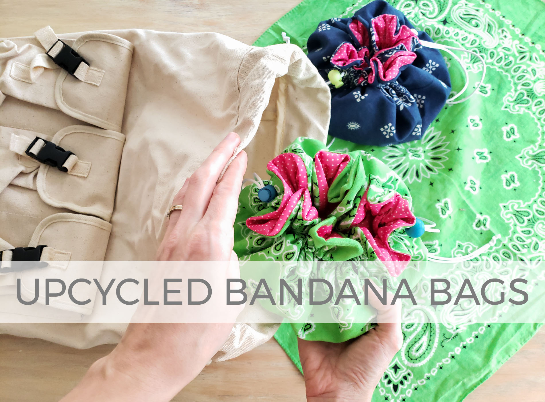 Whip up some upcycled bandana drawstring bags with this video tutorial by Larissa of Prodigal Pieces | prodigalpieces.com #prodigalpieces