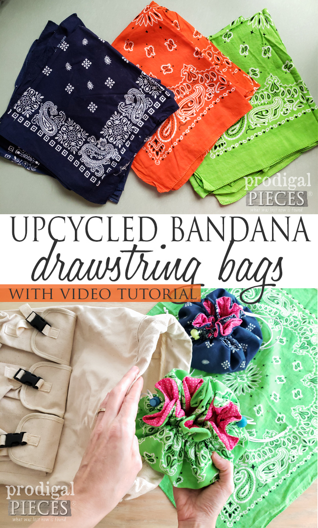 How cute are these?!? Whip up some upcycled bandana drawstring bags for your friends, family and YOU. Video tutorial by Larissa of Prodigal Pieces at prodigalpieces.com #prodigalpieces #diy #sewing #upcycle #gift #easter #handmade #refashion