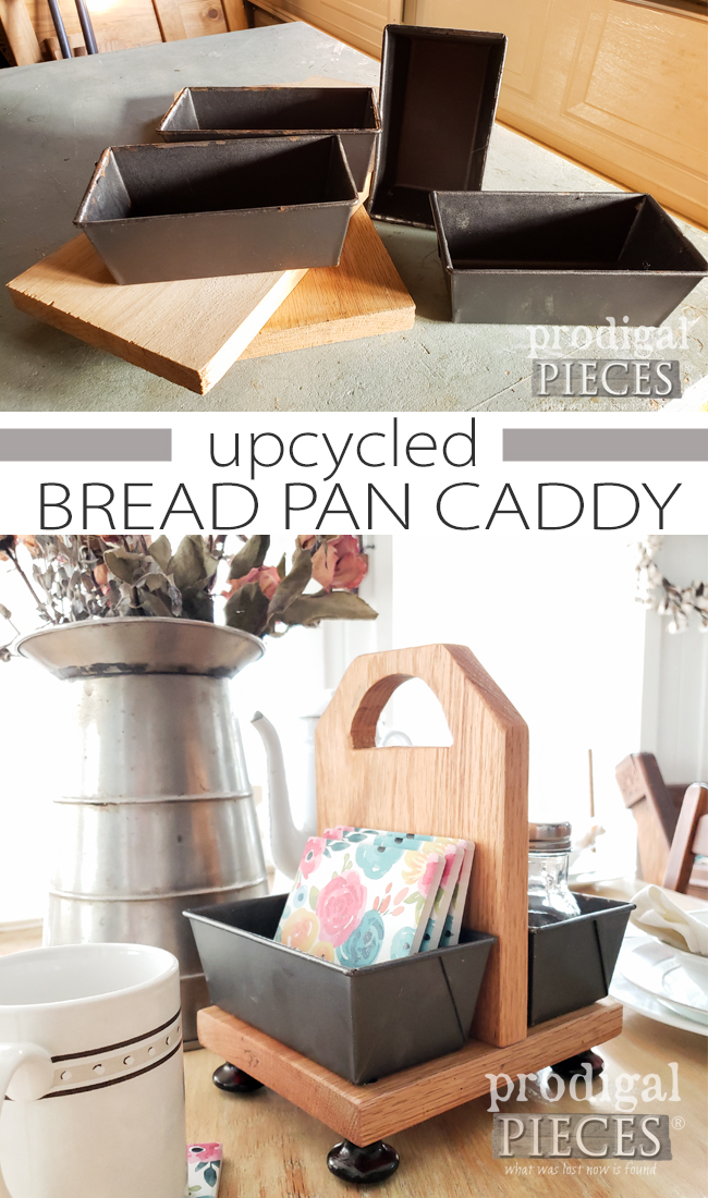 Sweet! You can create this upcycled bread pan caddy with this tutorial by Larissa of Prodigal Pieces | prodigalpieces.com #prodigalpieces #diy #farmhouse #home #cottage #homedecor