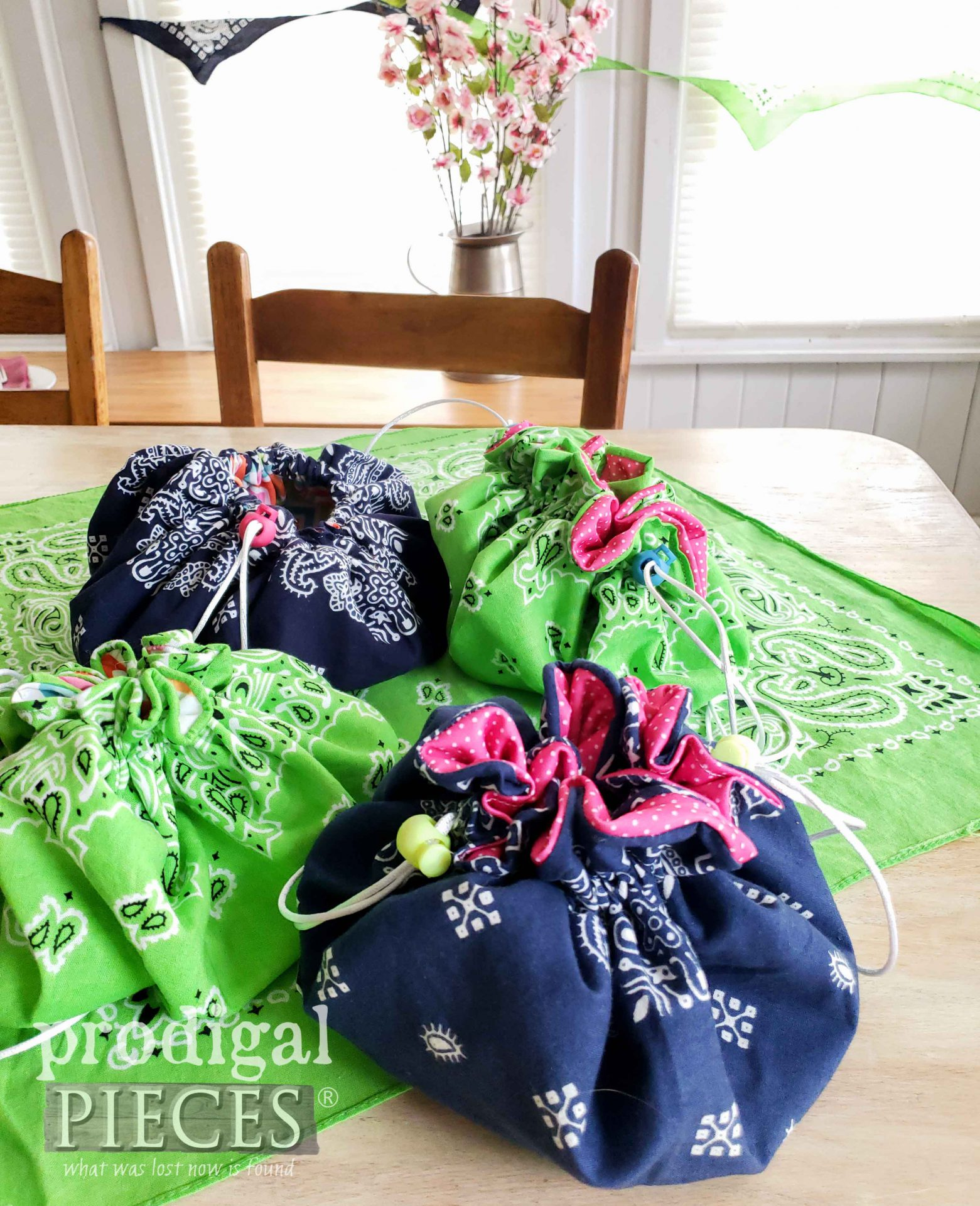Super Fun Upcycled Drawstring Bags by Larissa of Prodigal Pieces | prodigalpieces.com #prodigalpieces #sewing #upcycle #crafts