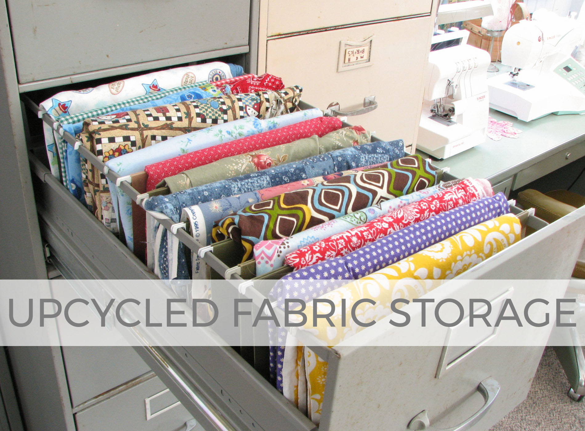 Store your fabric in your upcycled filing cabinets for ease of use | Prodigal Pieces | prodigalpieces.com
