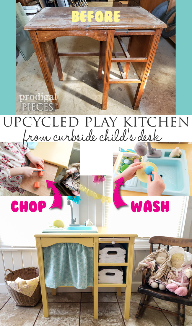 How cute! Larissa of Prodigal Pieces found this child's desk set out for trash and turned it into an upcycled play kitchen with working water sink | Video tutorial at prodigalpieces.com #prodigalpieces #diy #upcycled #kids #play #home #homedecor
